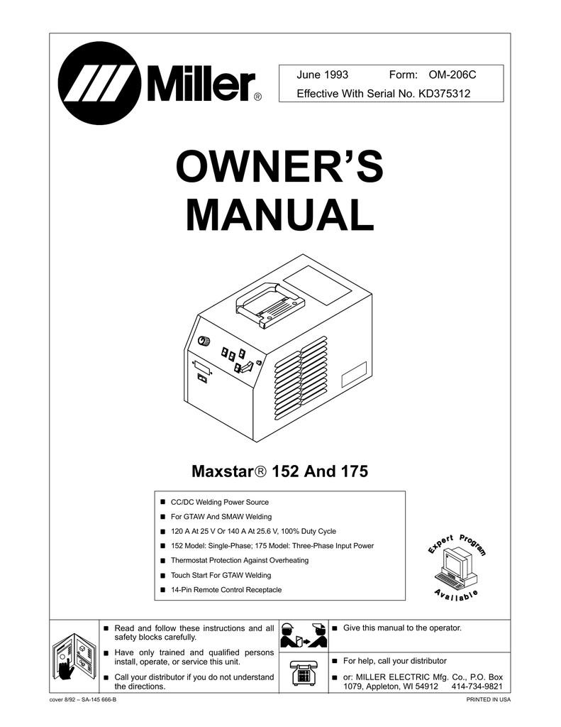 Miller Electric MT 24 F 25 1 Owner s manual