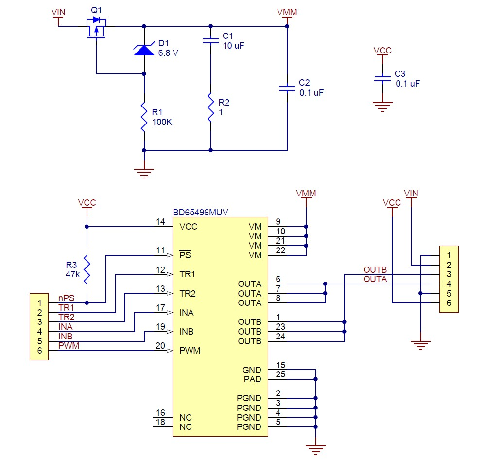 BD MUV single brushed DC motor driver carrier schematic diagram