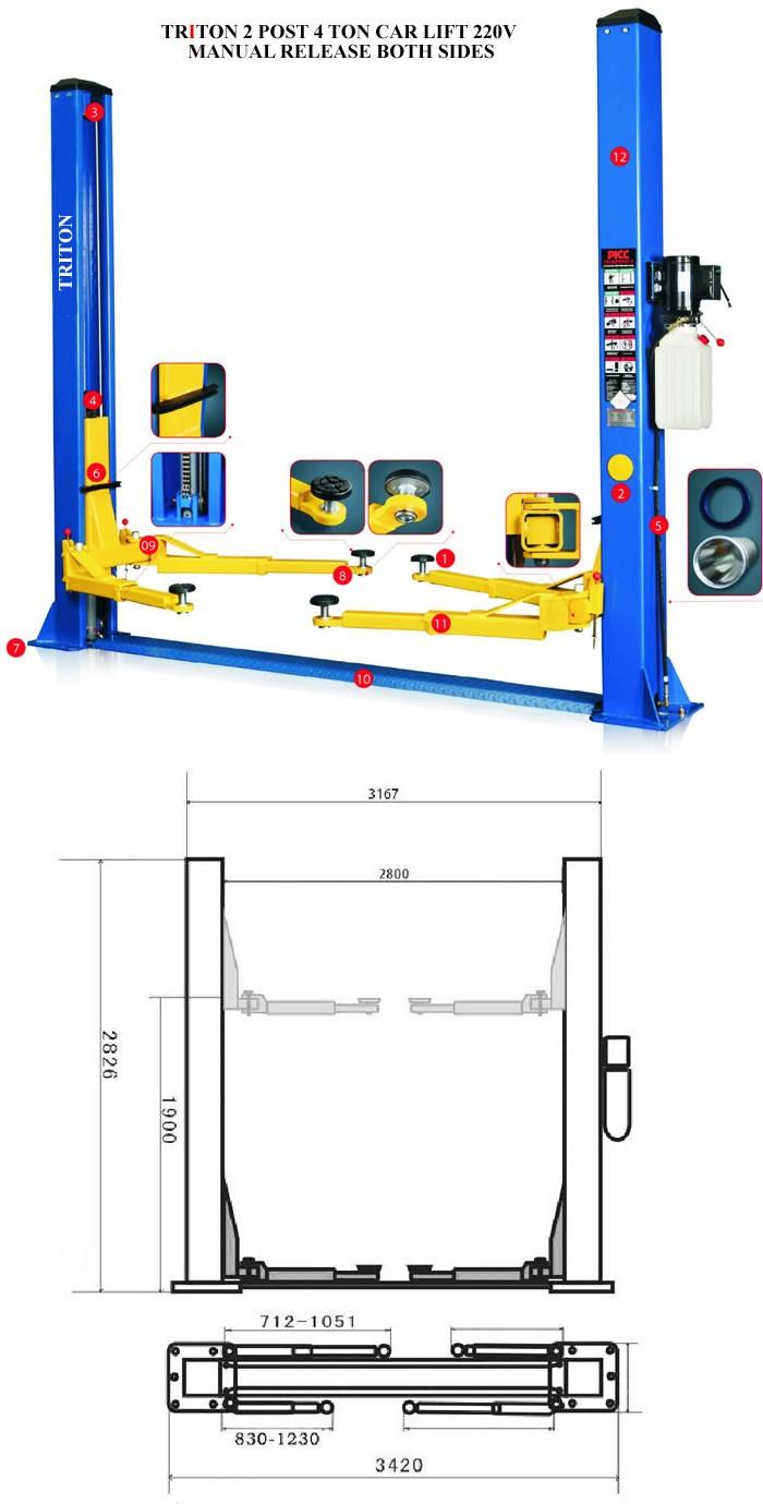 2 post 4ton Car Lifts 220v MANUAL RELEASE