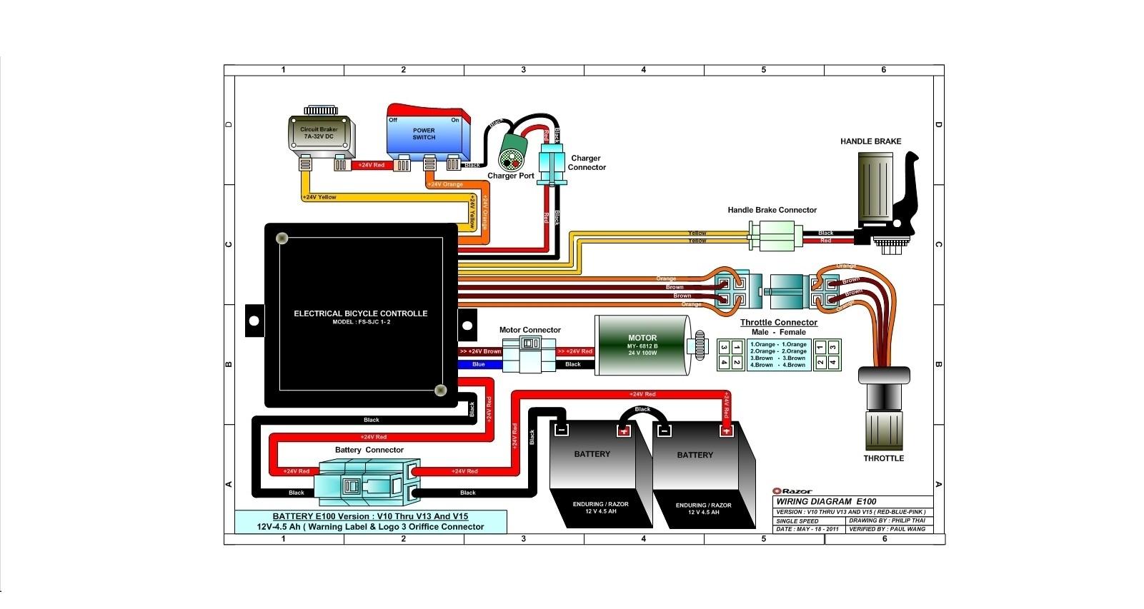 E100 versions 10 13 & 15 Wiring Diagram Razor Manuals
