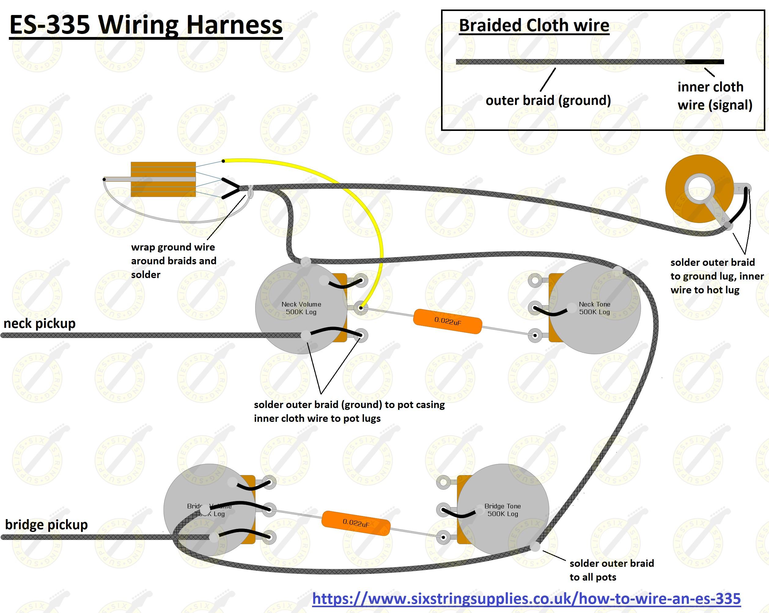 Six String Supplies Es 335 Wiring Kit Gibson 335 Guitar Wiring Diagrams