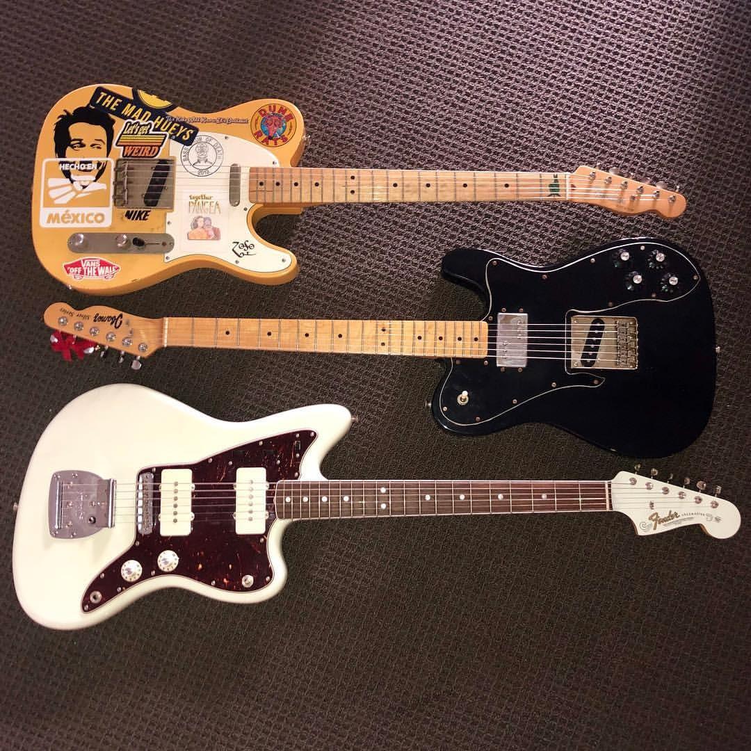 My babies 😍 guitarspam Roadworn Fender Telecaster MIM 1977 Ibanez lawsuit Telecaster copy Fender Jazzmaster American Vintage 65 Reissue w Curtis