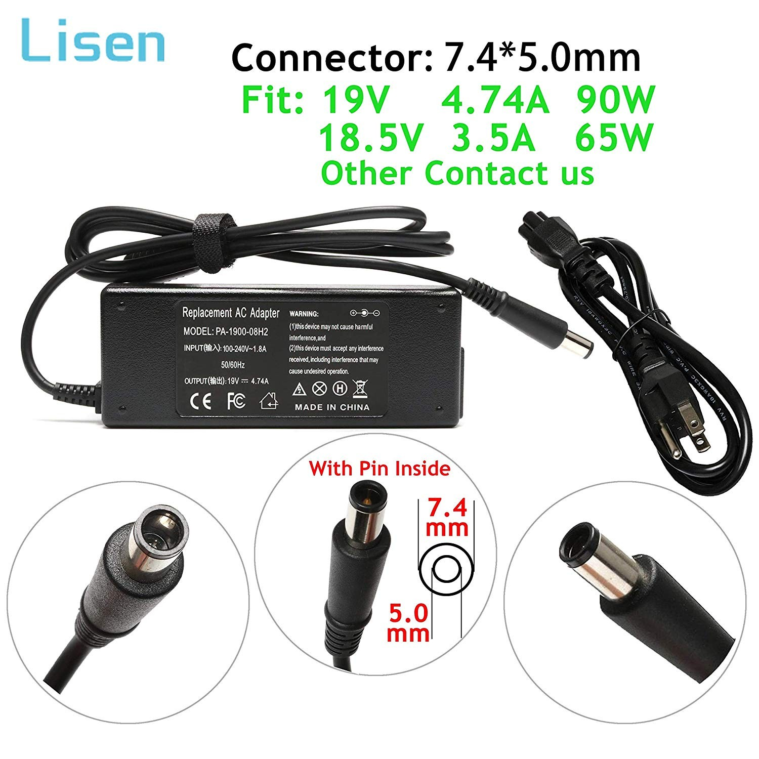 90W 19V 4 74A AC Adapter Charger for HP Pavilion Dv4 Dv6 Dv7 G40 G42 G50 G51 G60 G60T G61 G62 G70 G72 2000 2000 2B19WM 2000 2B29WM 2000 2D11DX HP paq