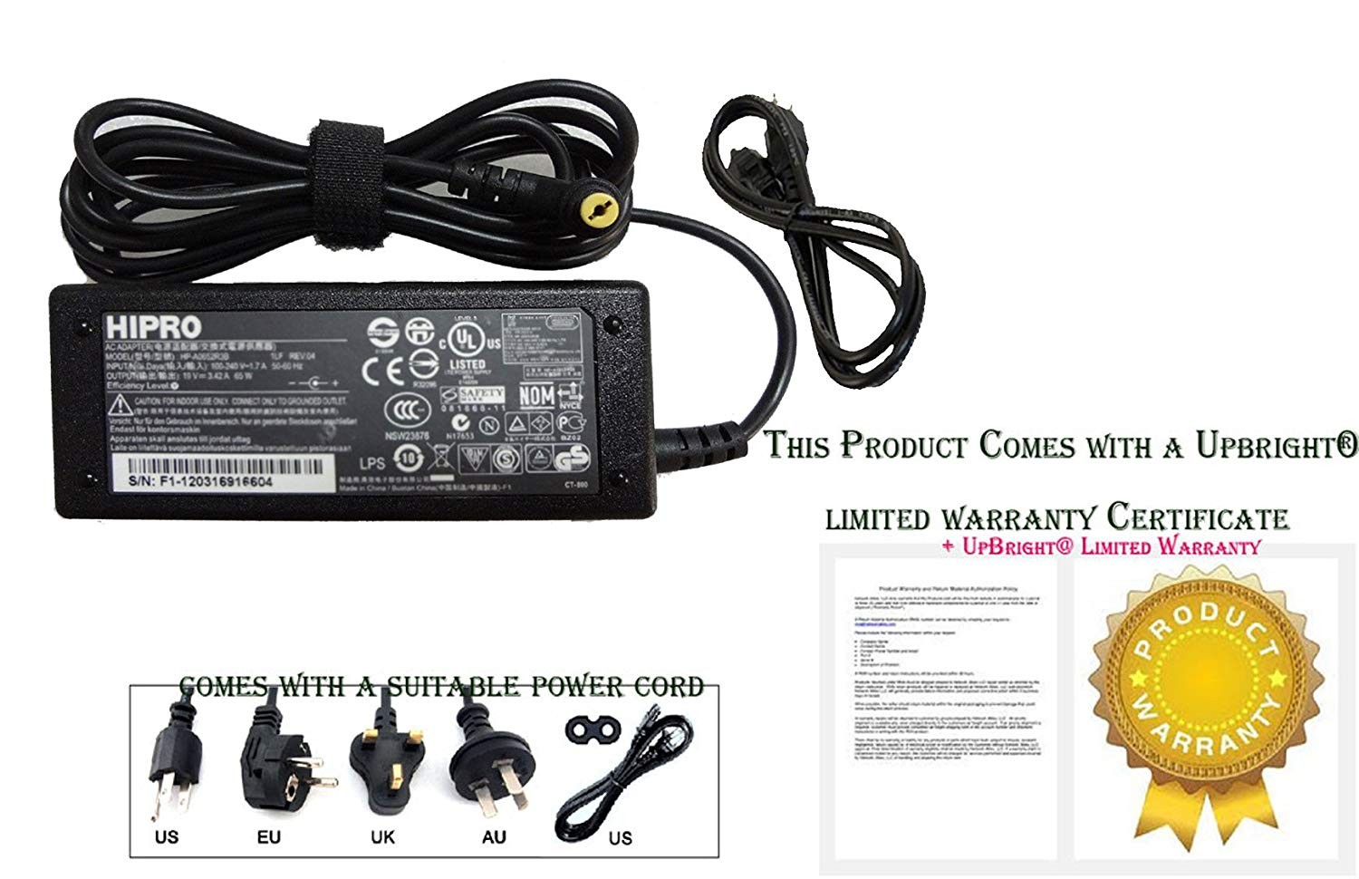 Amazon Hipro Original HP A0652R3B AC Adapter 19V 3 42A 65W With Power Cable Home Audio & Theater