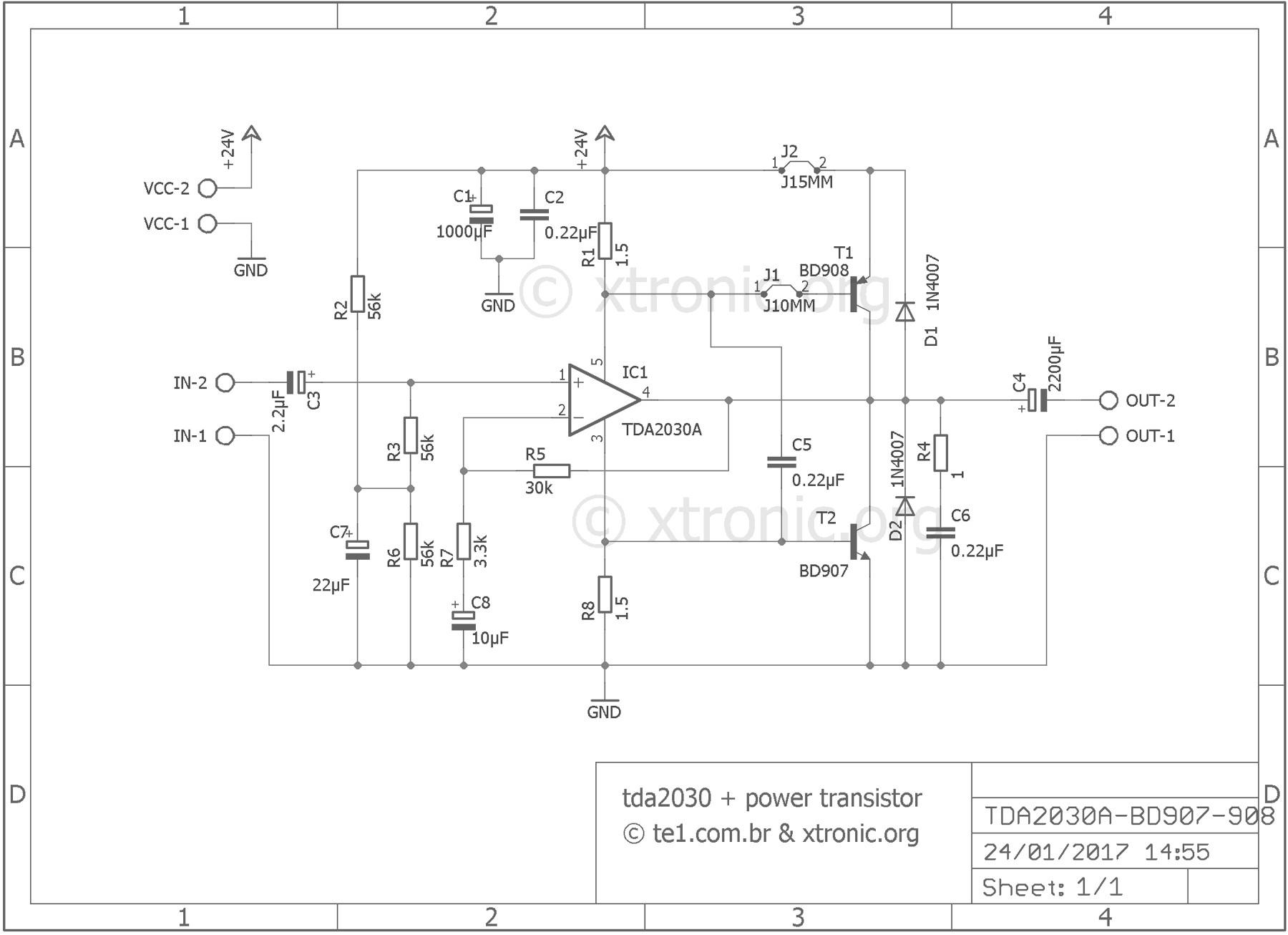 TDA2030 transistors BD908 BD907 – 18W amplifier schematic