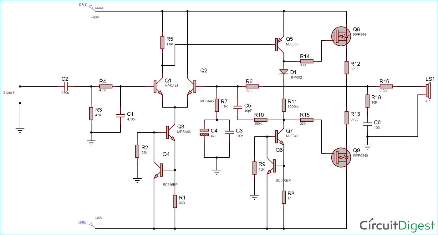 100W Audio Amplifier Circuit Diagram and Explanation