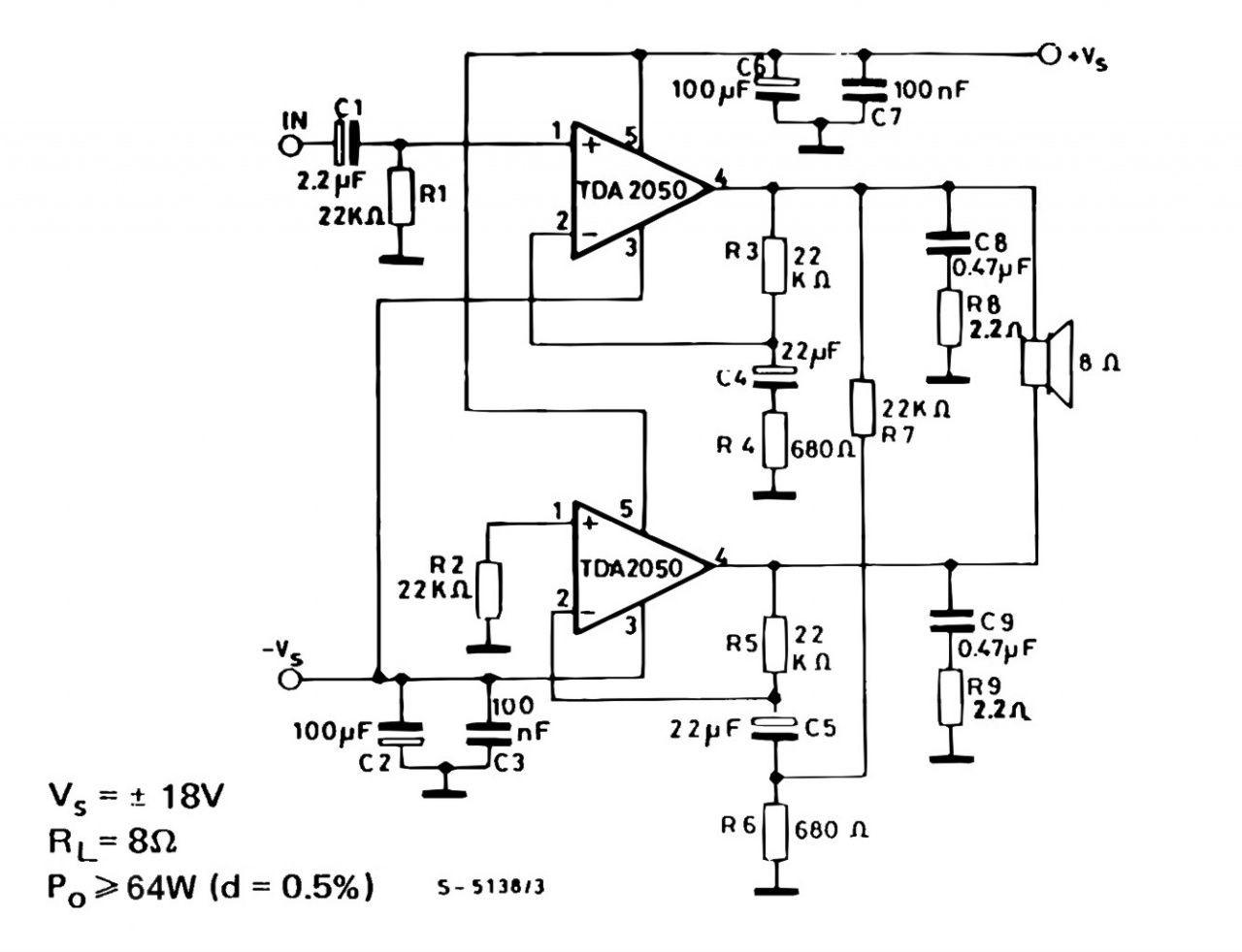 tda2050 bridge amplifier circuit Google Search