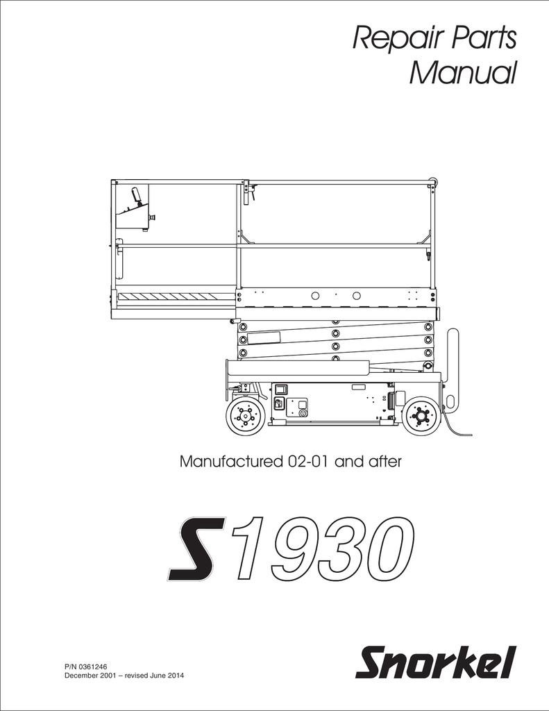 Repair Parts Manual Manufactured 02 01 and after P N