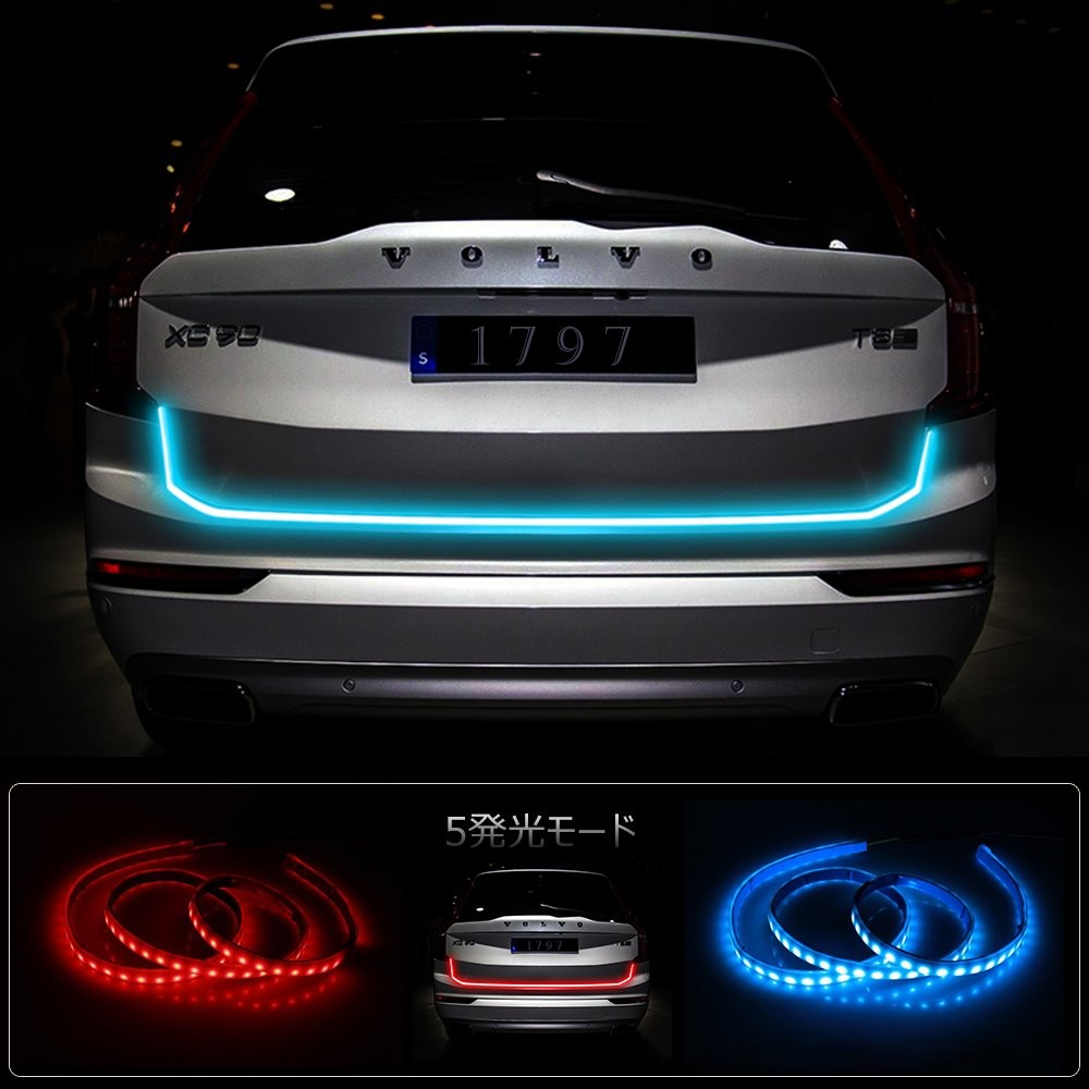 Led Tail Lights Strip Tailgate Light Strip Red Blue 12V Bar Car Turn Signal Led Strip Lights Flowing Brake Reverse Lamps Modification Waterproof 60