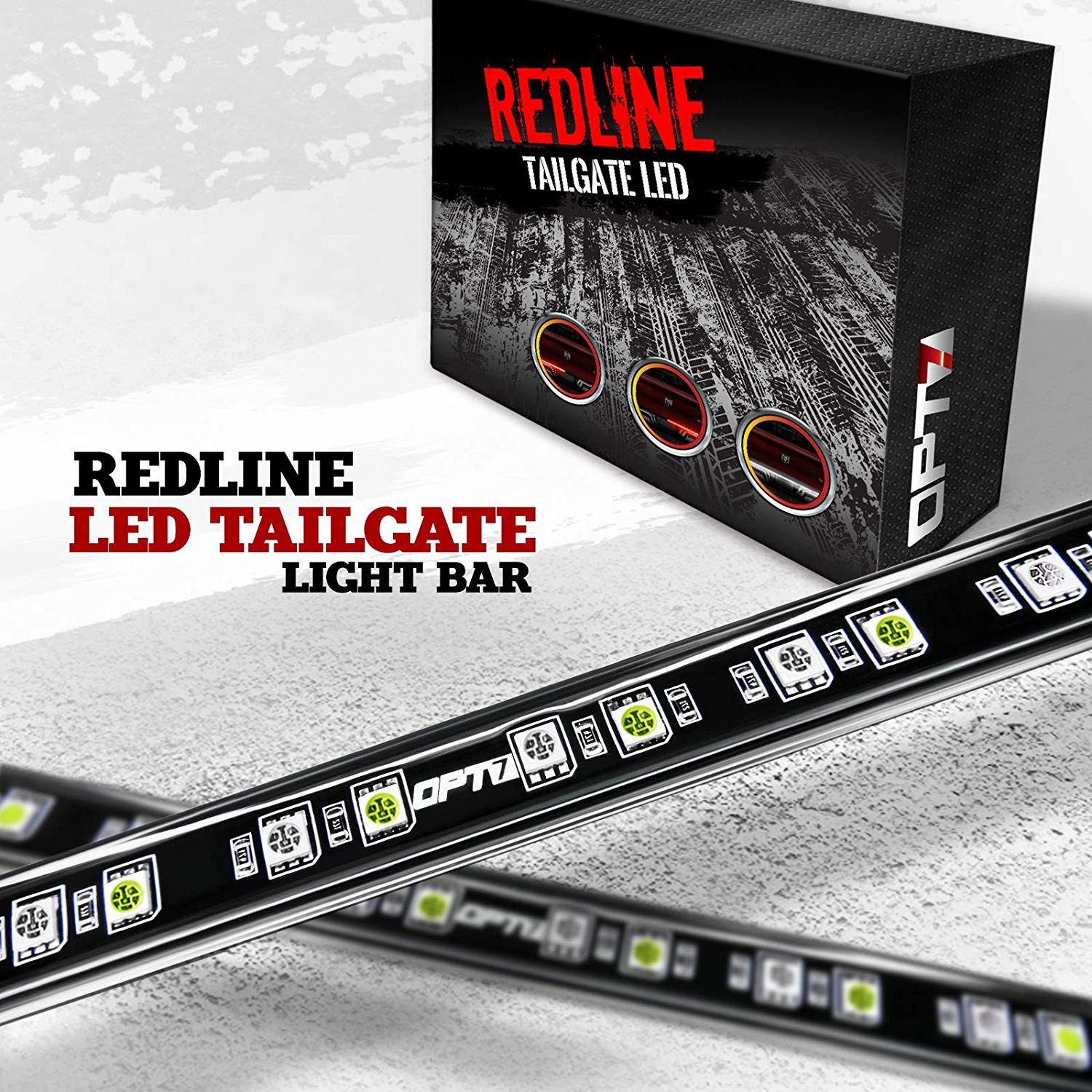 "OPT7 60"" Redline LED Tailgate Light Bar TriCore LED Weatherproof Rigid Aluminum No Drill Install Full Featured Reverse Running Brake Turn Signal 2yr"