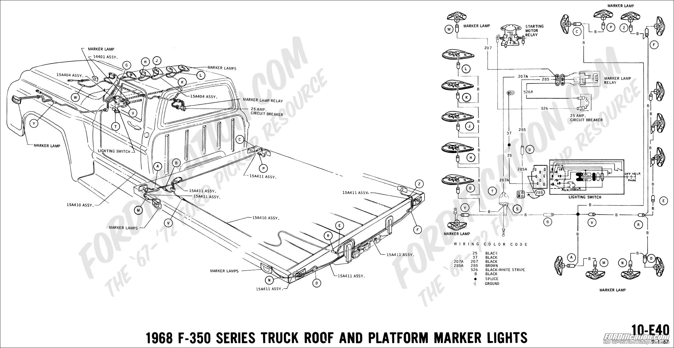 ford truck technical drawings and schematics section h wiring1968 f 350 roof and platform marker lights