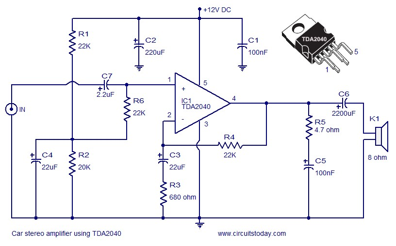 car stereo amplifier circuit using