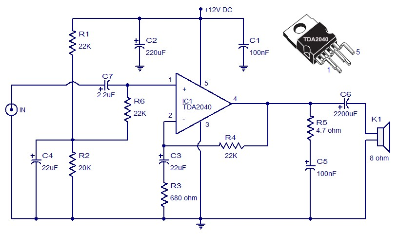 tda2040 car amplifier circuit