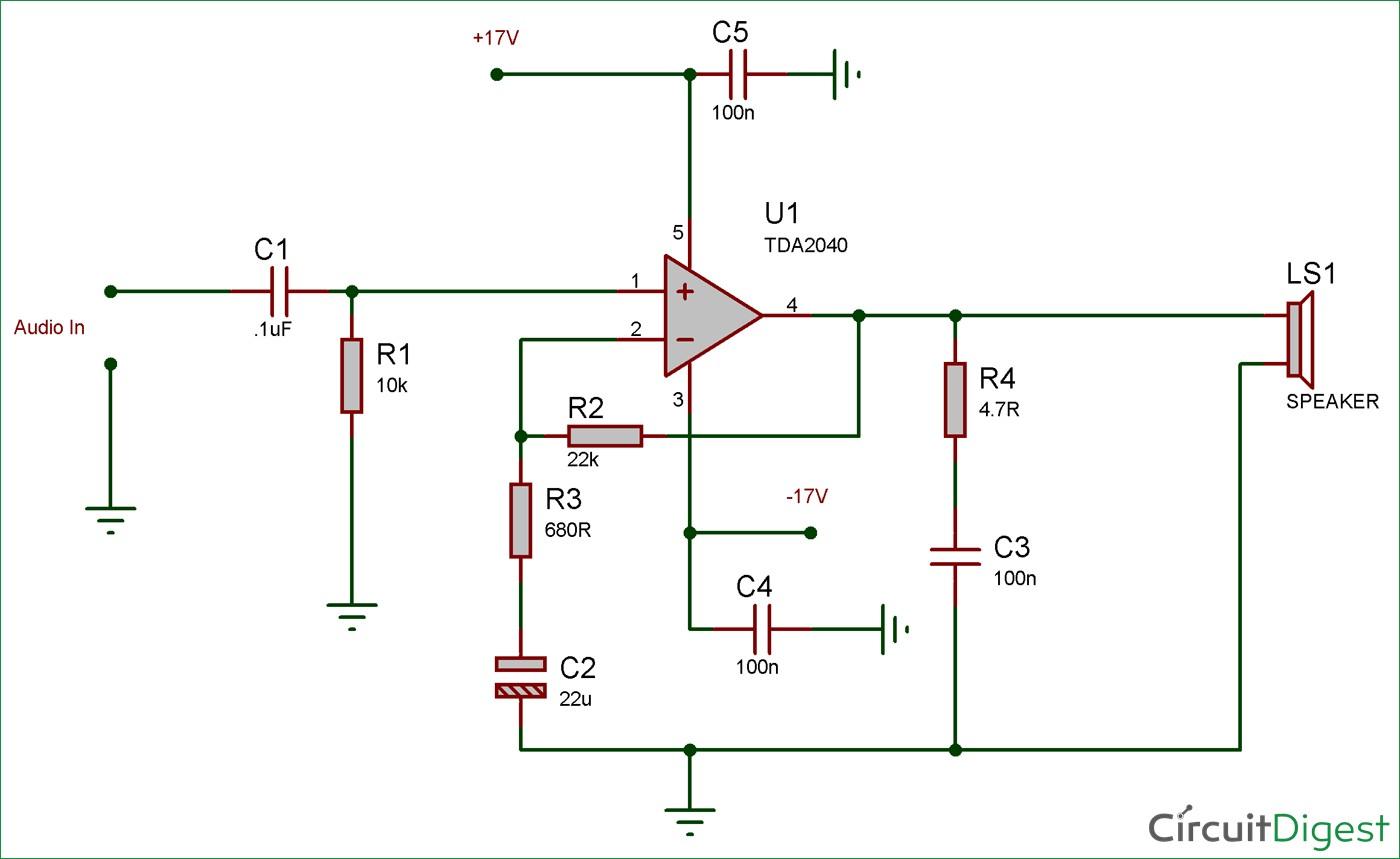 25 watt audio amplifier circuit diagram using tda2040