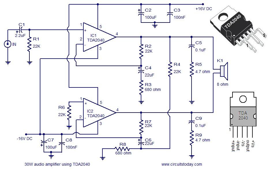 tda2040 based 30 watt audio amplifier
