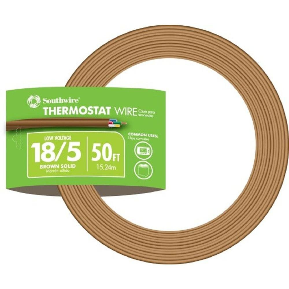 Southwire 5 Conductor 18 5 Thermostat Wire 18 Gauge Solid Copper Class 2 Power Limited Circuit Cable 50 Feet Brown Electrical Wires Amazon