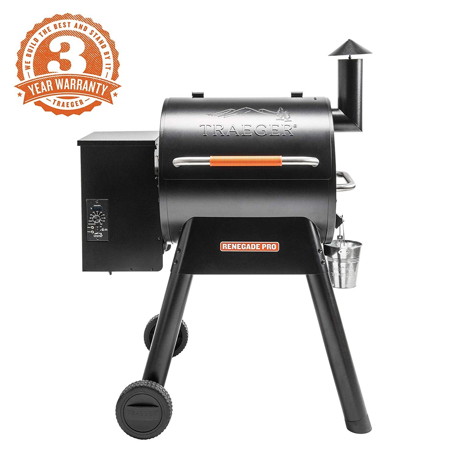Amazon Traeger Grills TFB38TOD Renegade Pro Pellet Grill and Smoke 380 Sq in Cooking Capacity Black Orange Garden & Outdoor