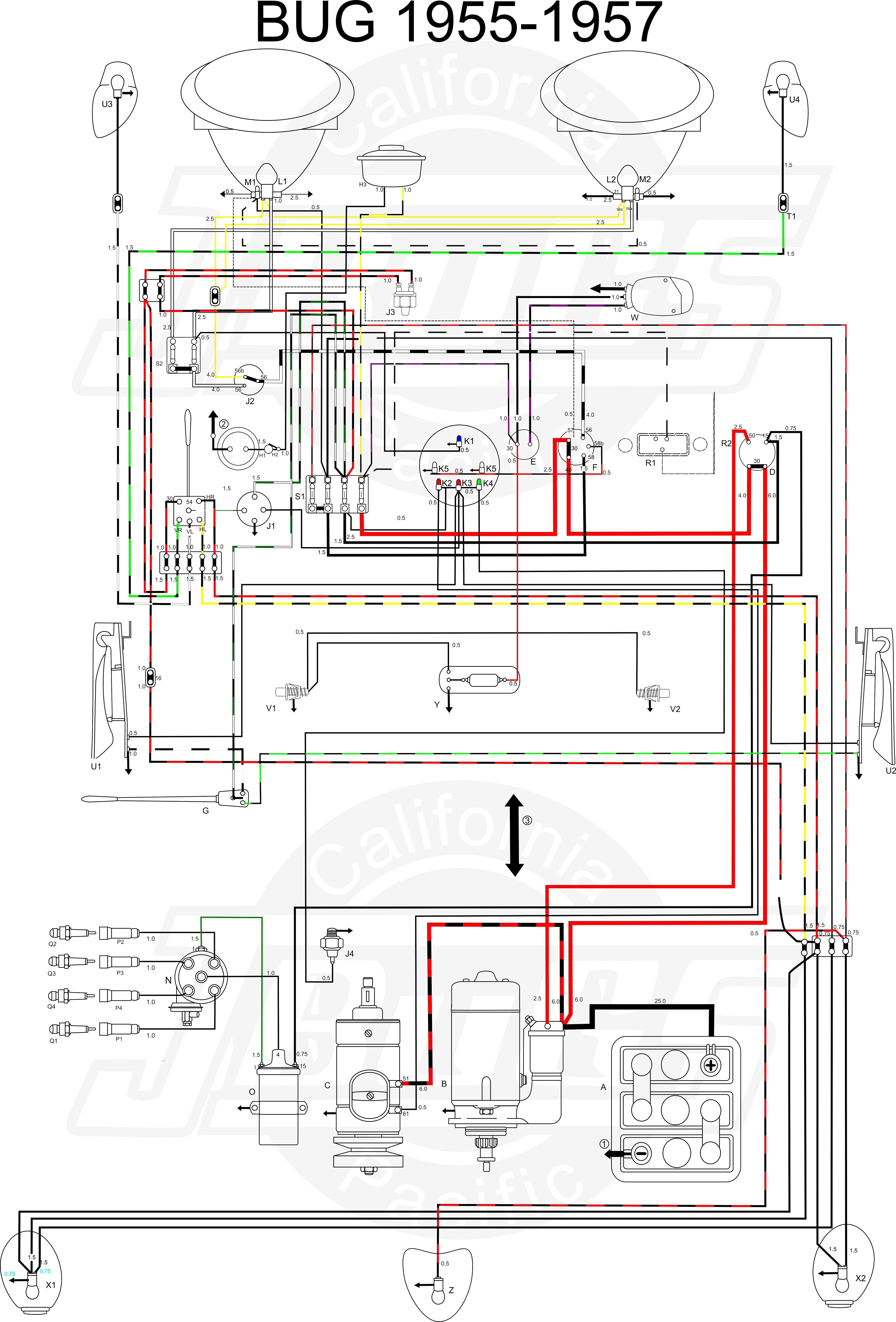 Vw Tech Article 1955 57 Wiring Diagram V Dubs Vw Parts Diagram Dune Buggy Engine Parts List Schematics Drawings