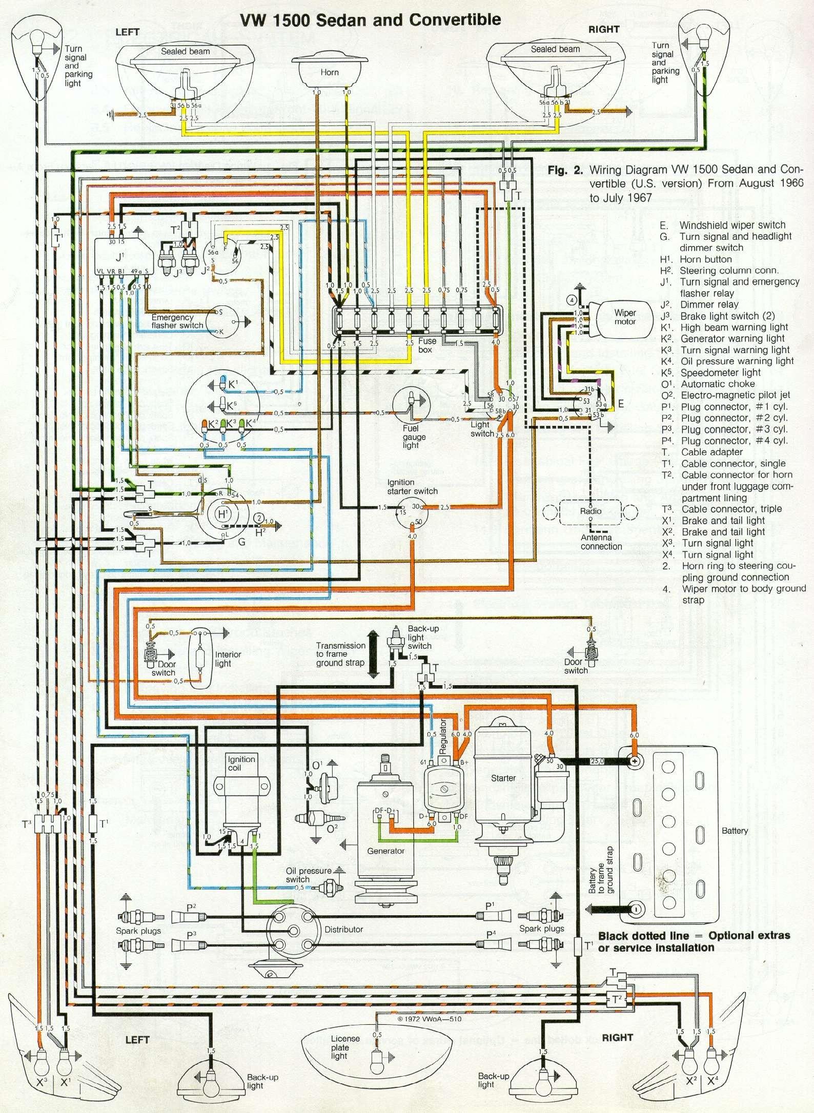 thesamba type 1 wiring diagrams rh thesamba 1965 VW Beetle Wiring Diagram VW Beetle