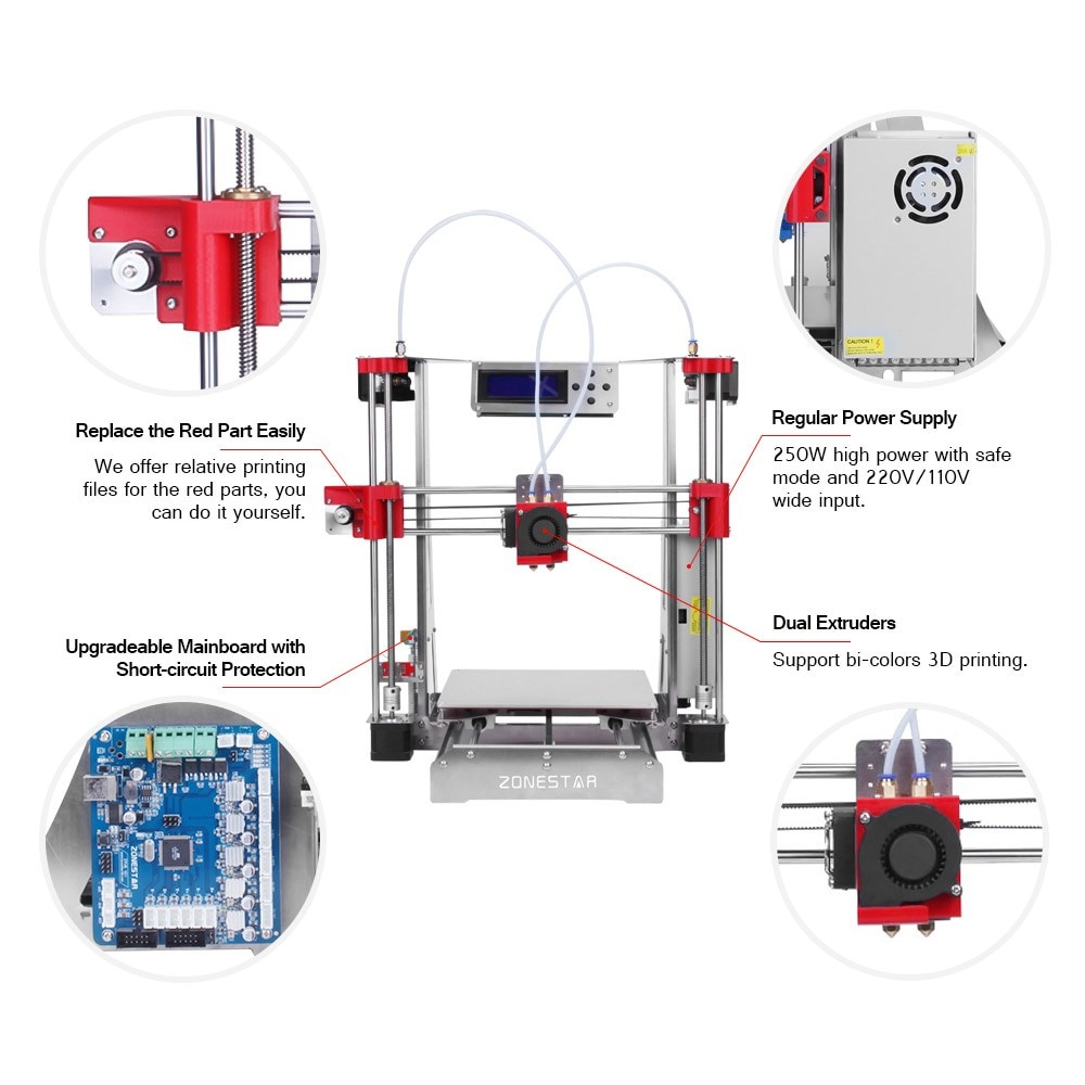 ZONESTAR P802QR2 i3 Metal FDM 3D Printer DIY Kit Dual Extruder Dual Color Printing Auto Leveling Resume With PLA Filament in 3D Printers from puter