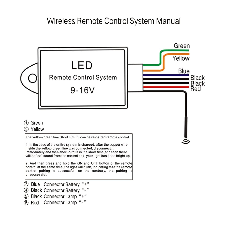 Amazon LED Light Bar Remote Wiring Harness Wireless Remote Wiring Harness for LED Light Bar Driving Light Fog Light Pods Light Work Light