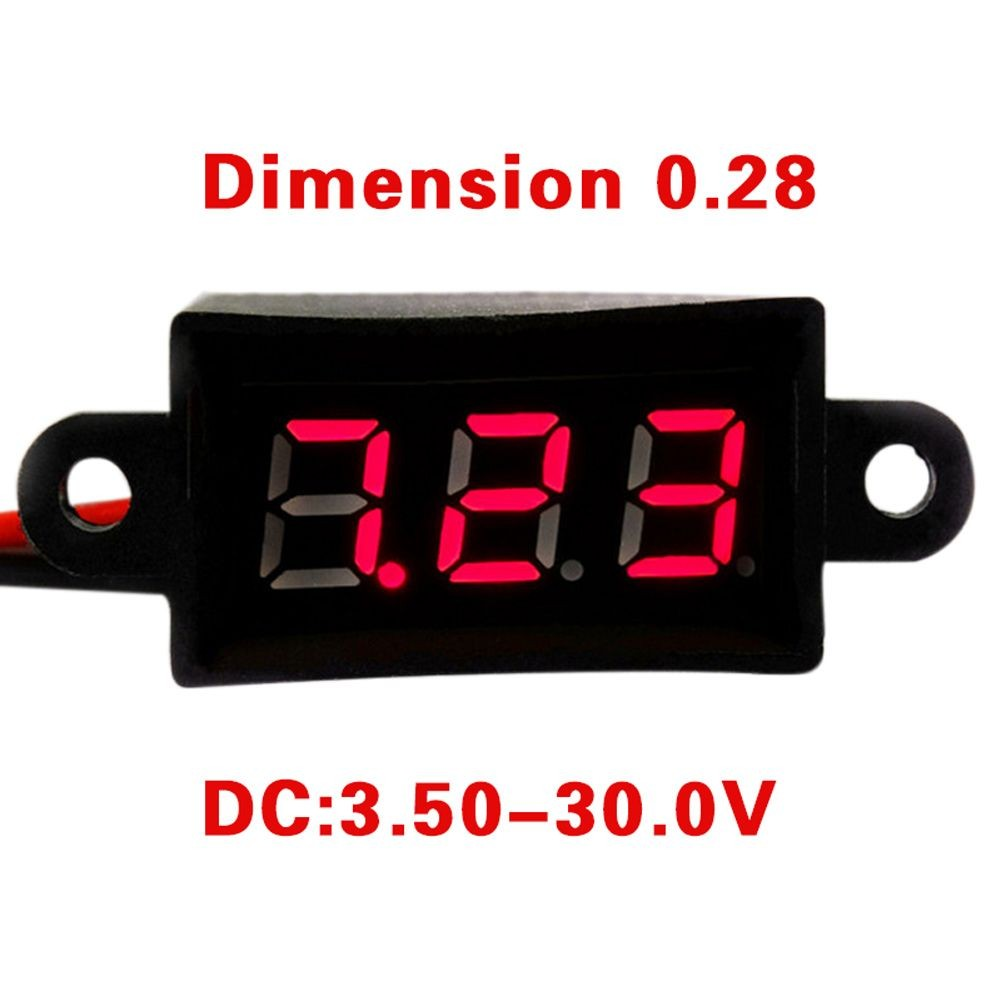 "RD 0 28"" Mini Digital Voltmeter DC 3 50 30V 2 Wires Vehicles Motor Voltage Panel"