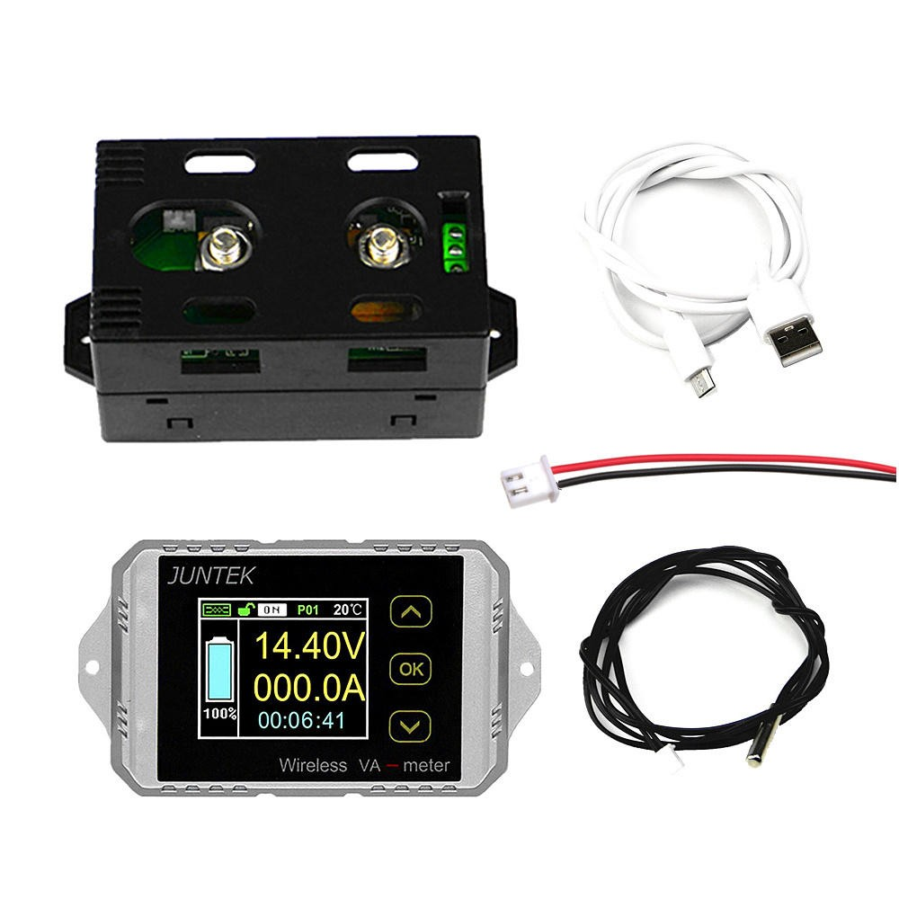 VAT1050 Wireless DC Voltmeter Current Tester Watt Measurement Digital Display Electric Garage Meter With Temperature Sensor COD