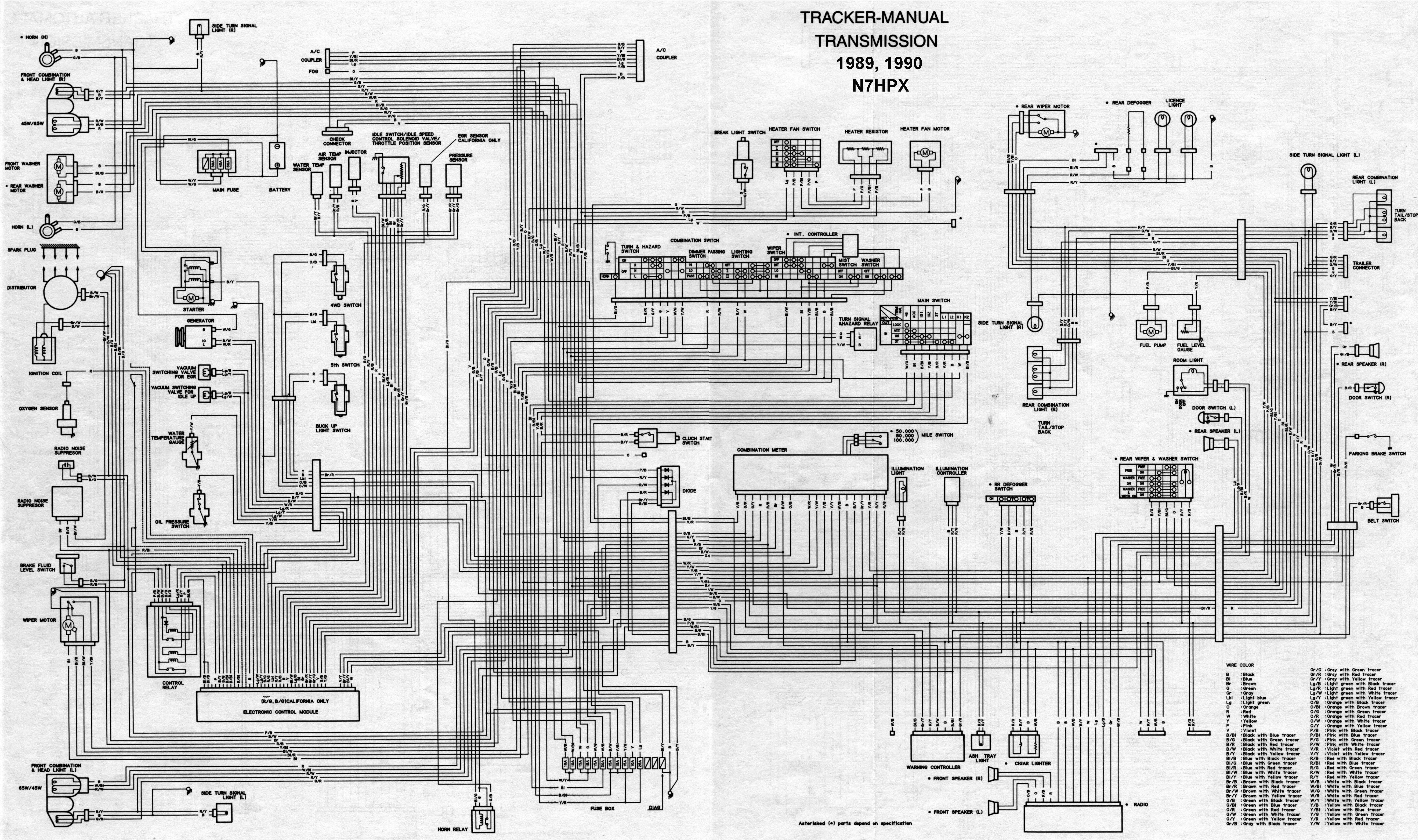 suzuki sidekick tracker wiring diagram 1989 1990 model