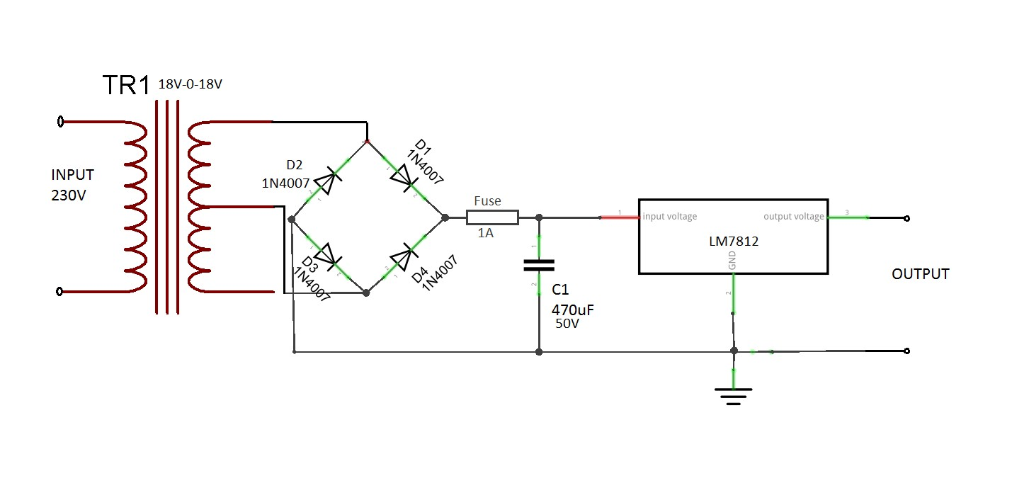 Circuit Diagram Constant 12V Power Supply LED Circuits