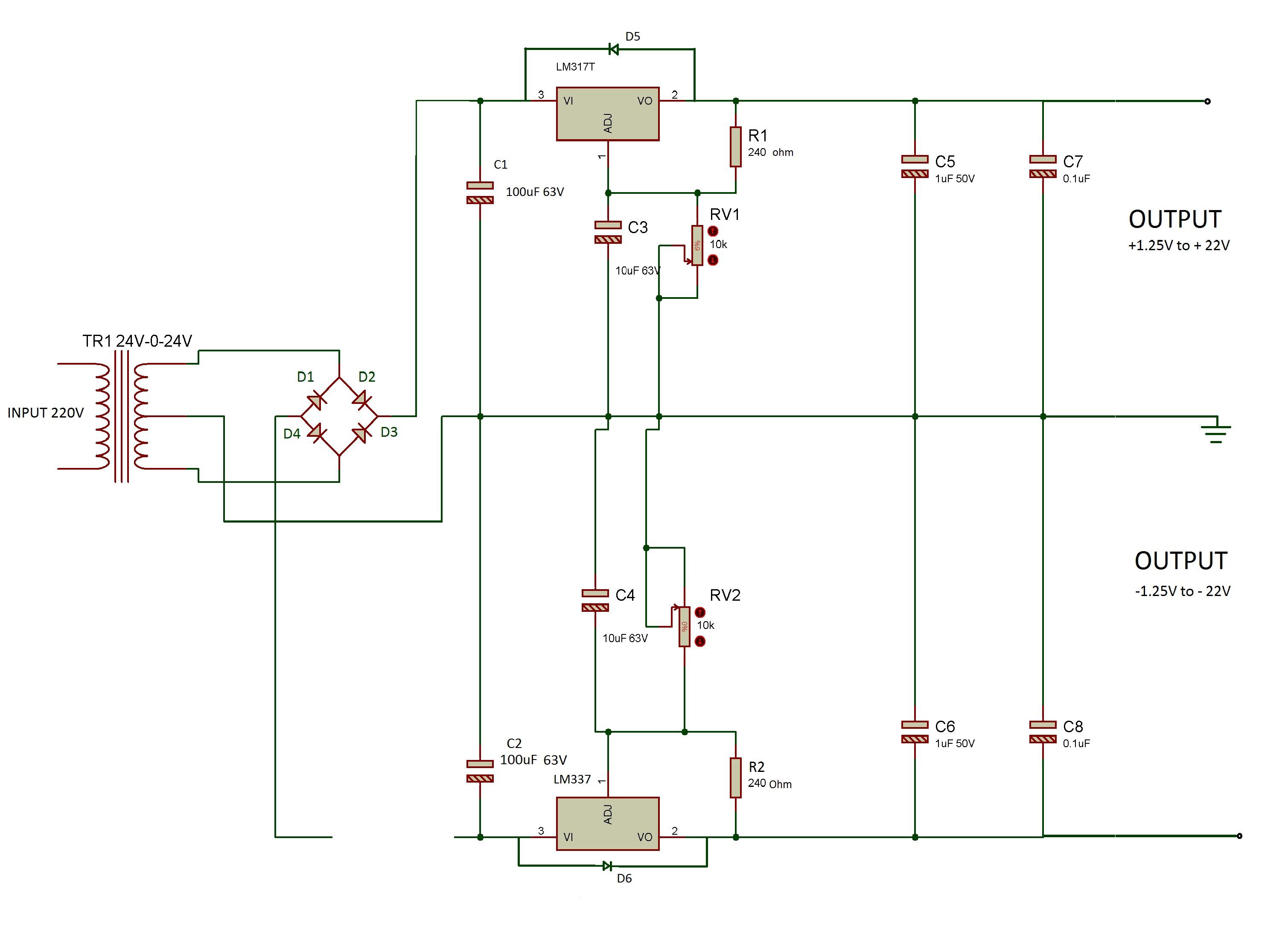 Circuit Diagram Adjustable 1 25V 22V 1A Power Supply