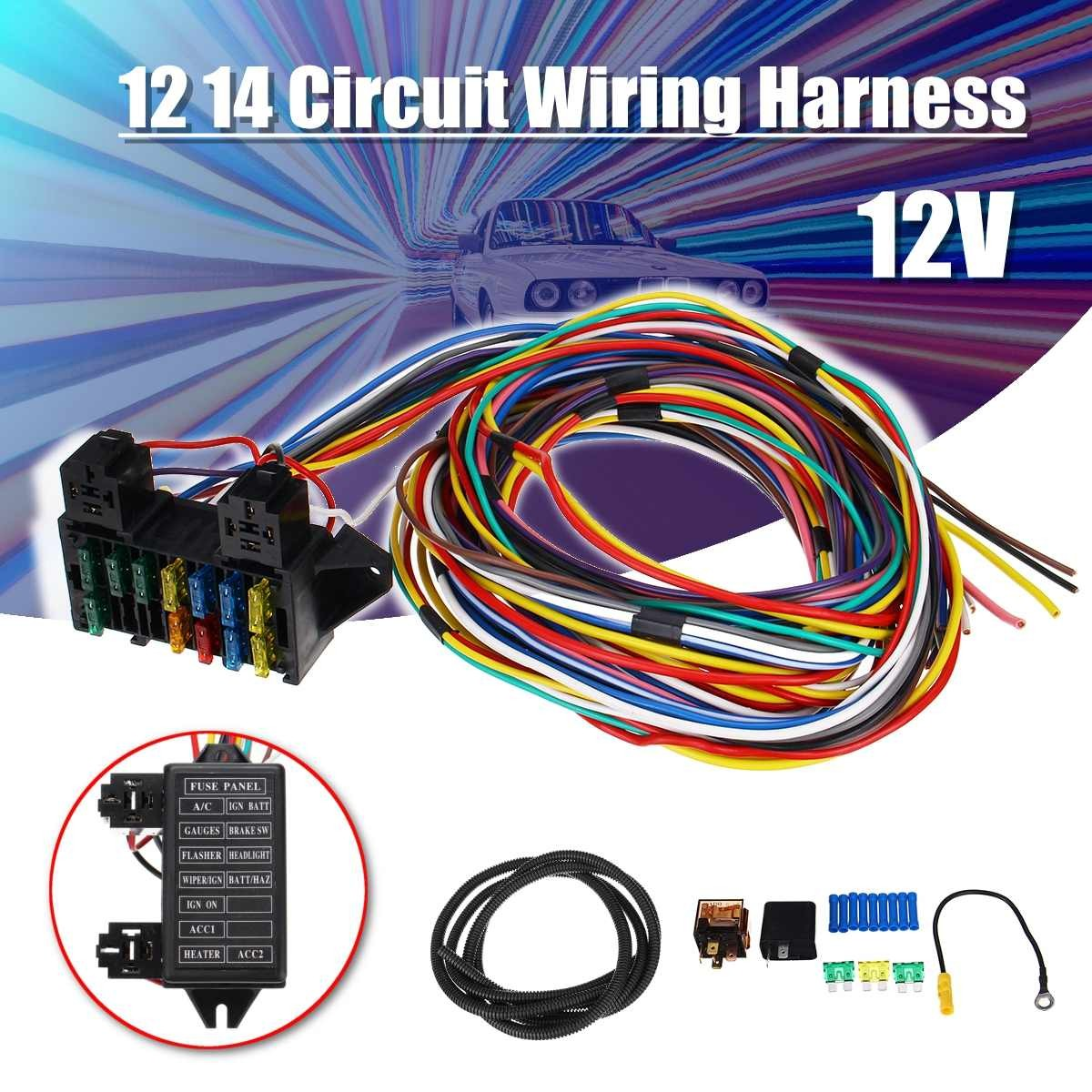 12 14 Circuit Universal Wiring Harness 14 Fuse 12V Muscle Car Hot R od Street R