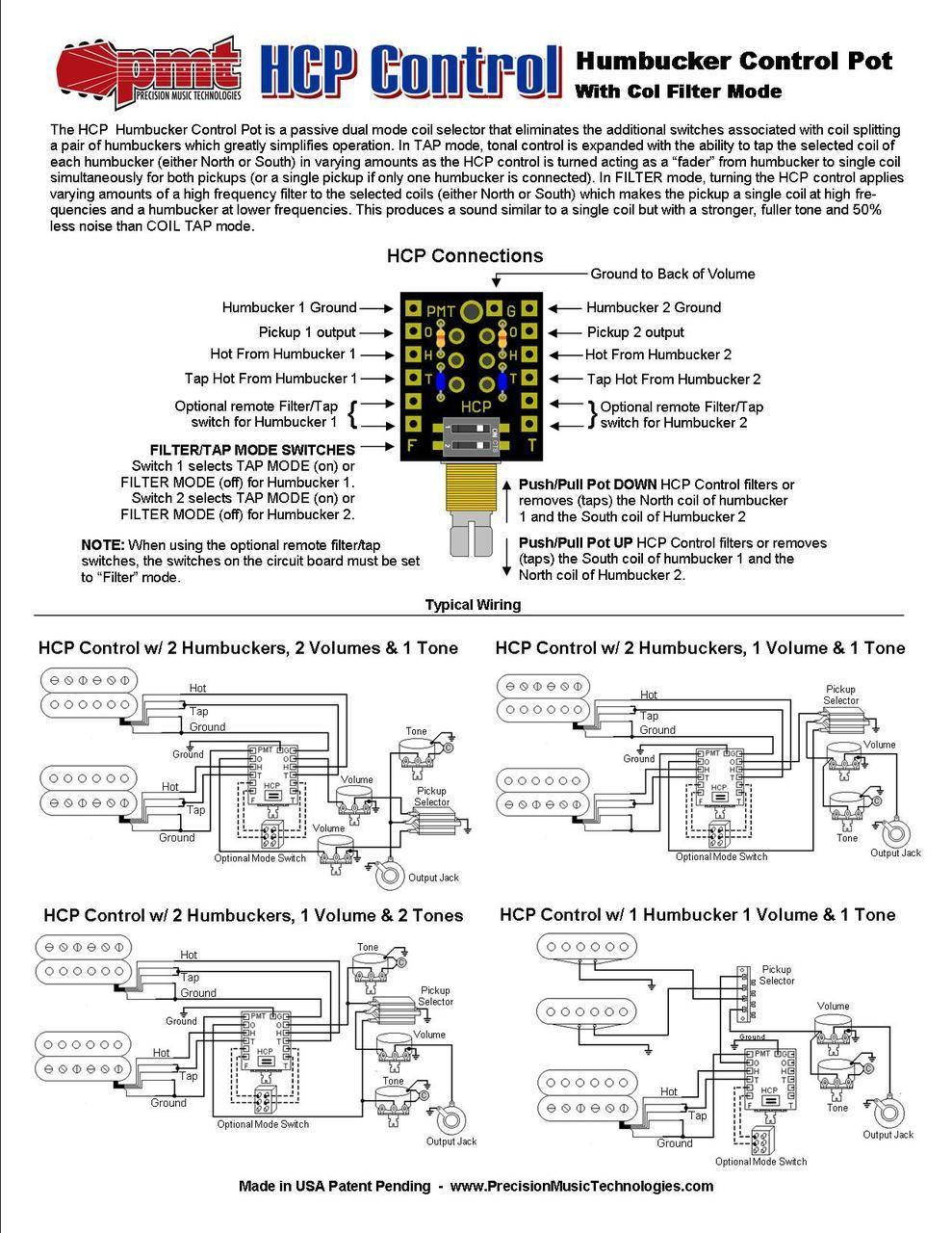 humbucker control pot instructions