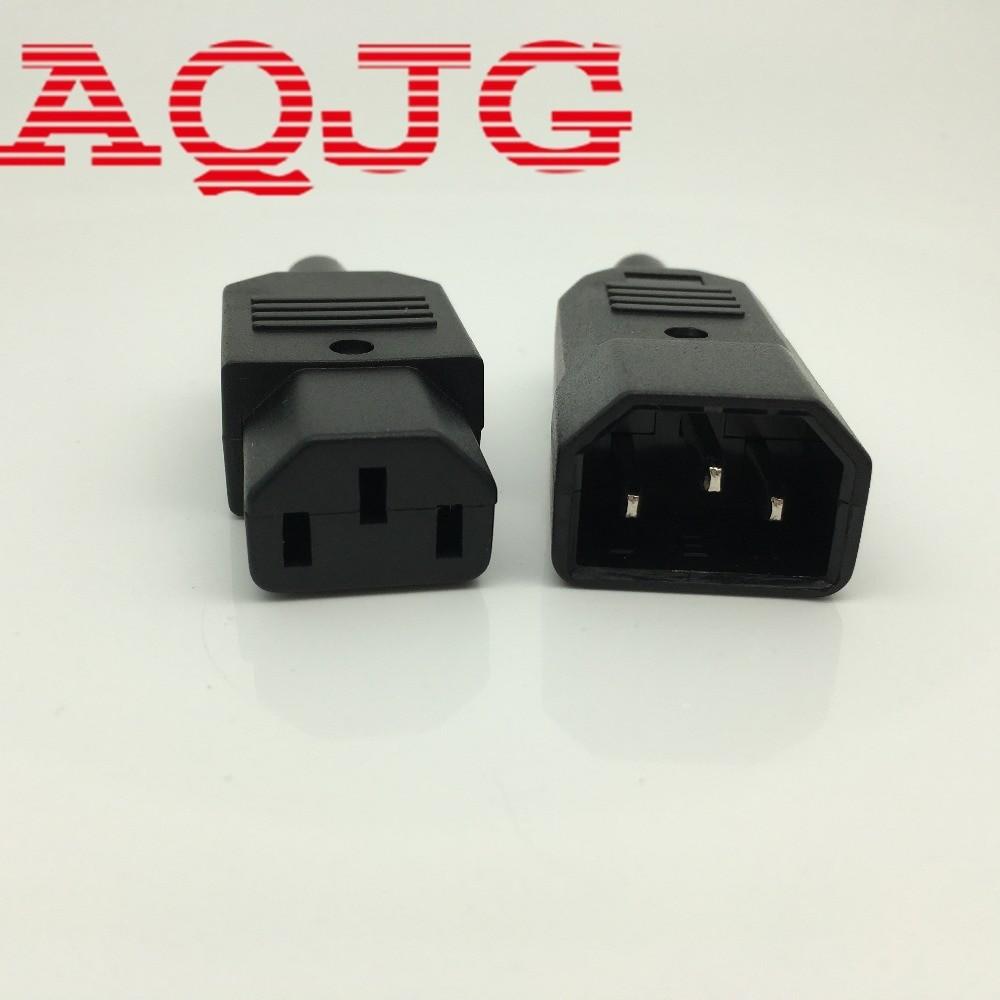 New Black IEC C14 Male Plug Rewirable Power Connector 3 pin Socket 10A 250V C13 male