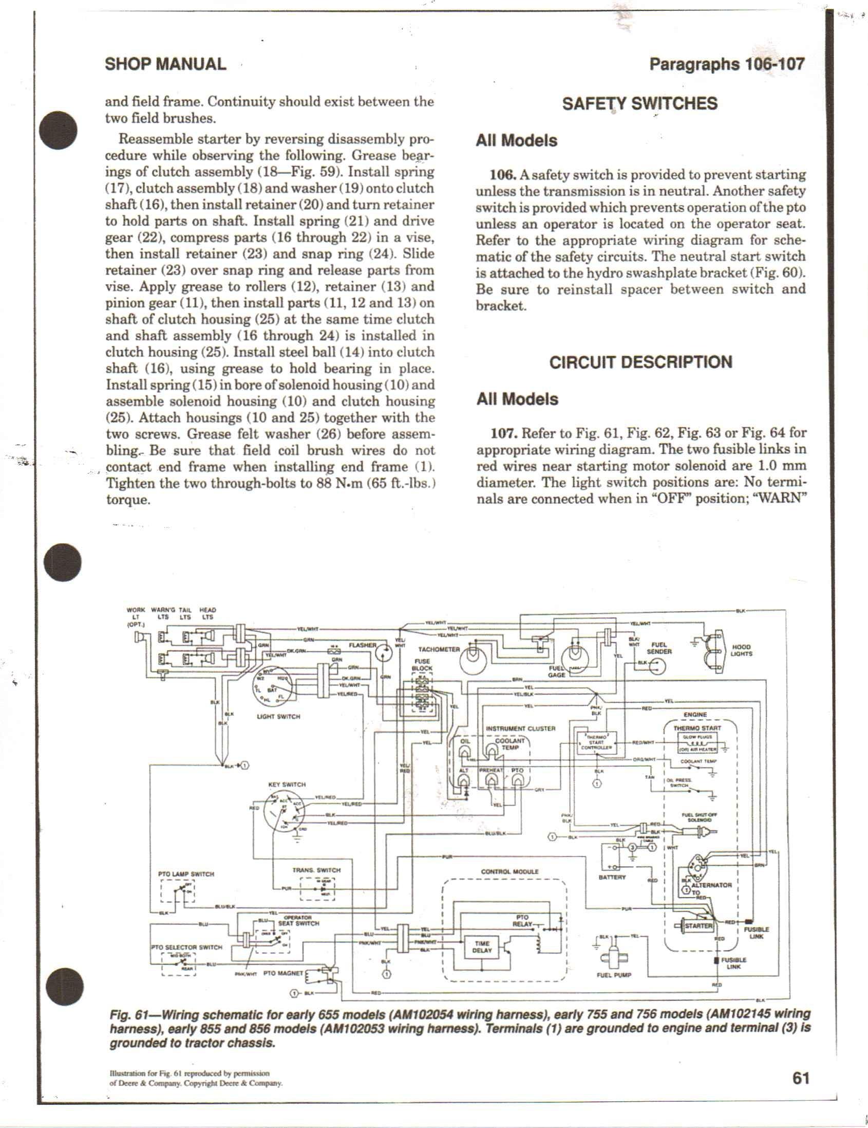 Deere 655 755 wiring diagram