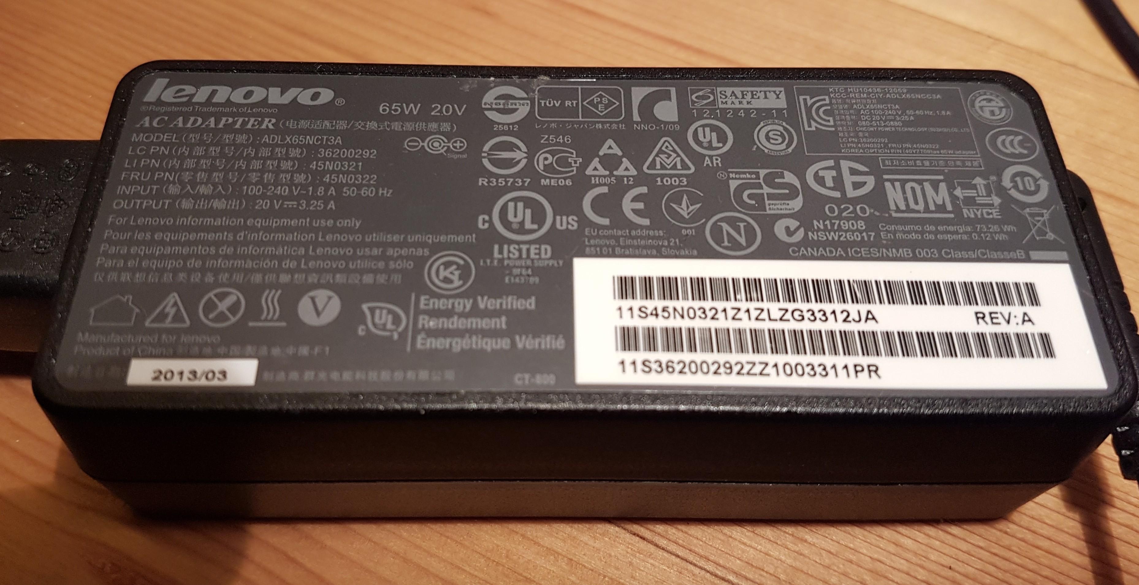Lenovo Power Adapter AC 65W 20V