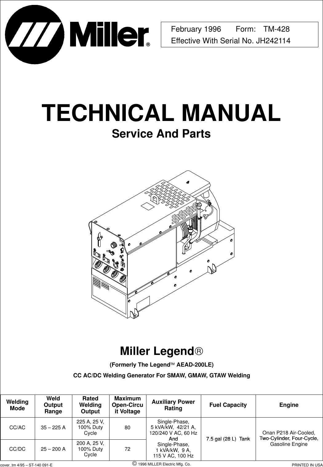 MillerElectricAead200LeUsersManual User Guide Page 1