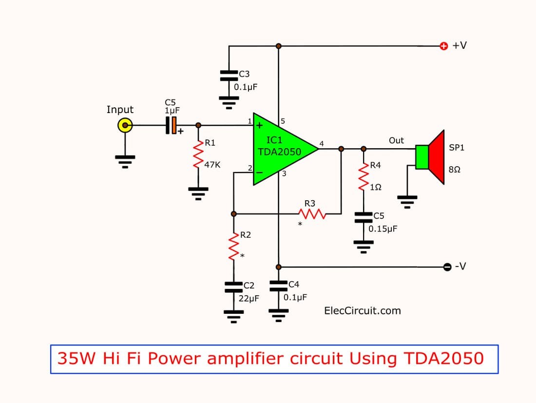 circuit 35w hi fi audio power amplifier by tda2050