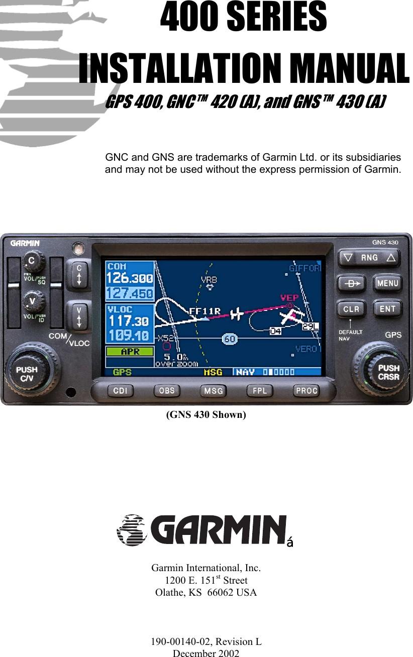Garmin420UsersManual User Guide Page 1