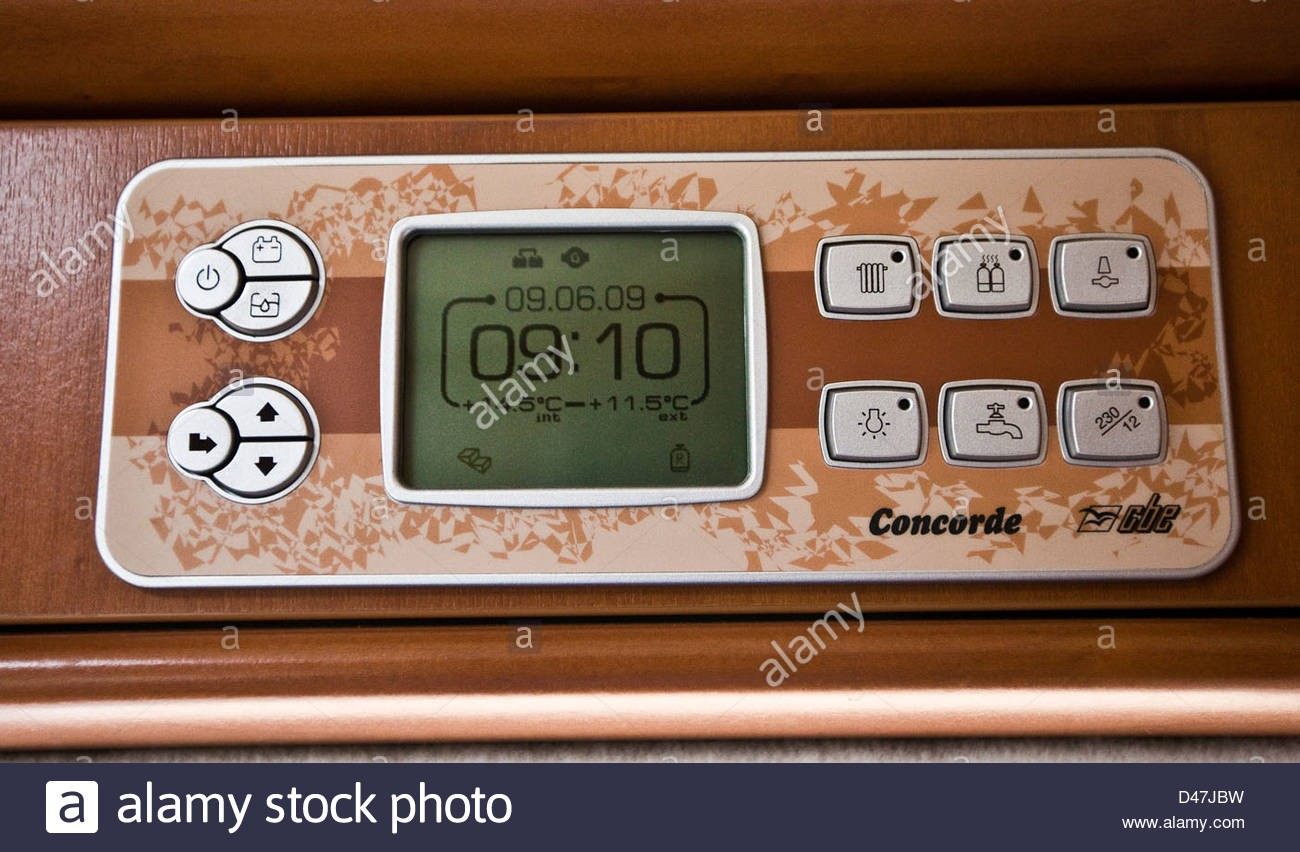 control panel with digital display in the concorde luxury motorhome D47JBW