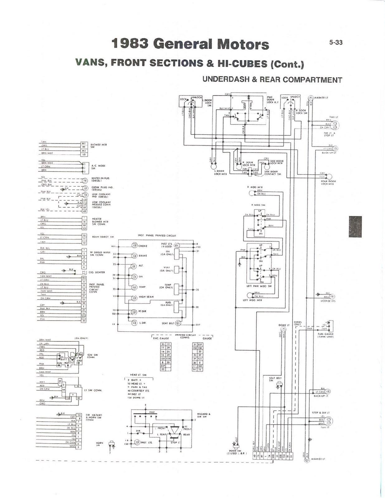 83 GM Van front section & Hi Cubes underdash & rear partment