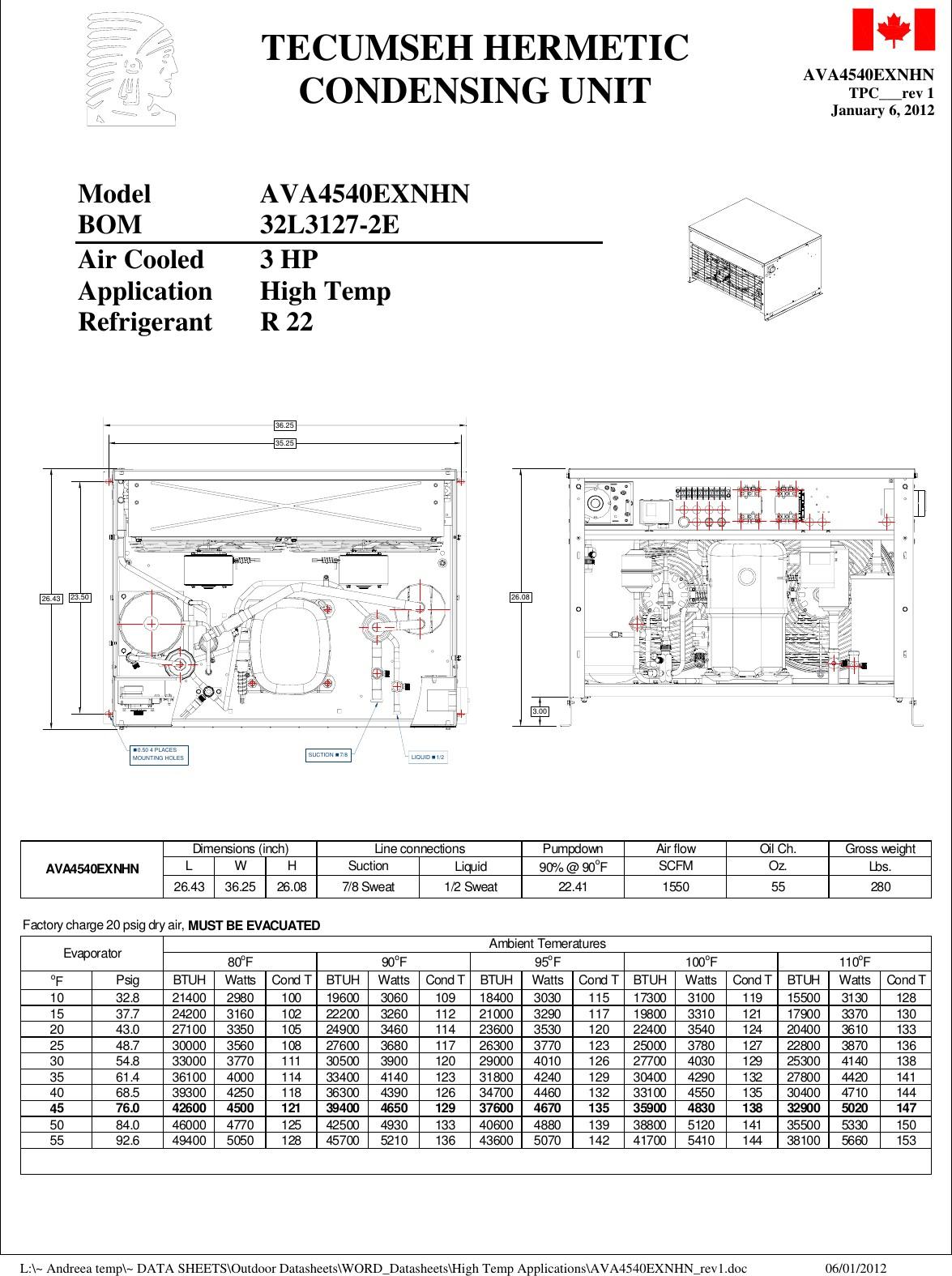 TecumsehAva4540ExnhnPerformanceDataSheet User Guide Page 1