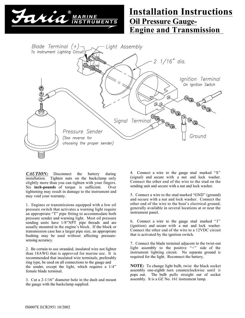 oil pressure gauge faria instruments