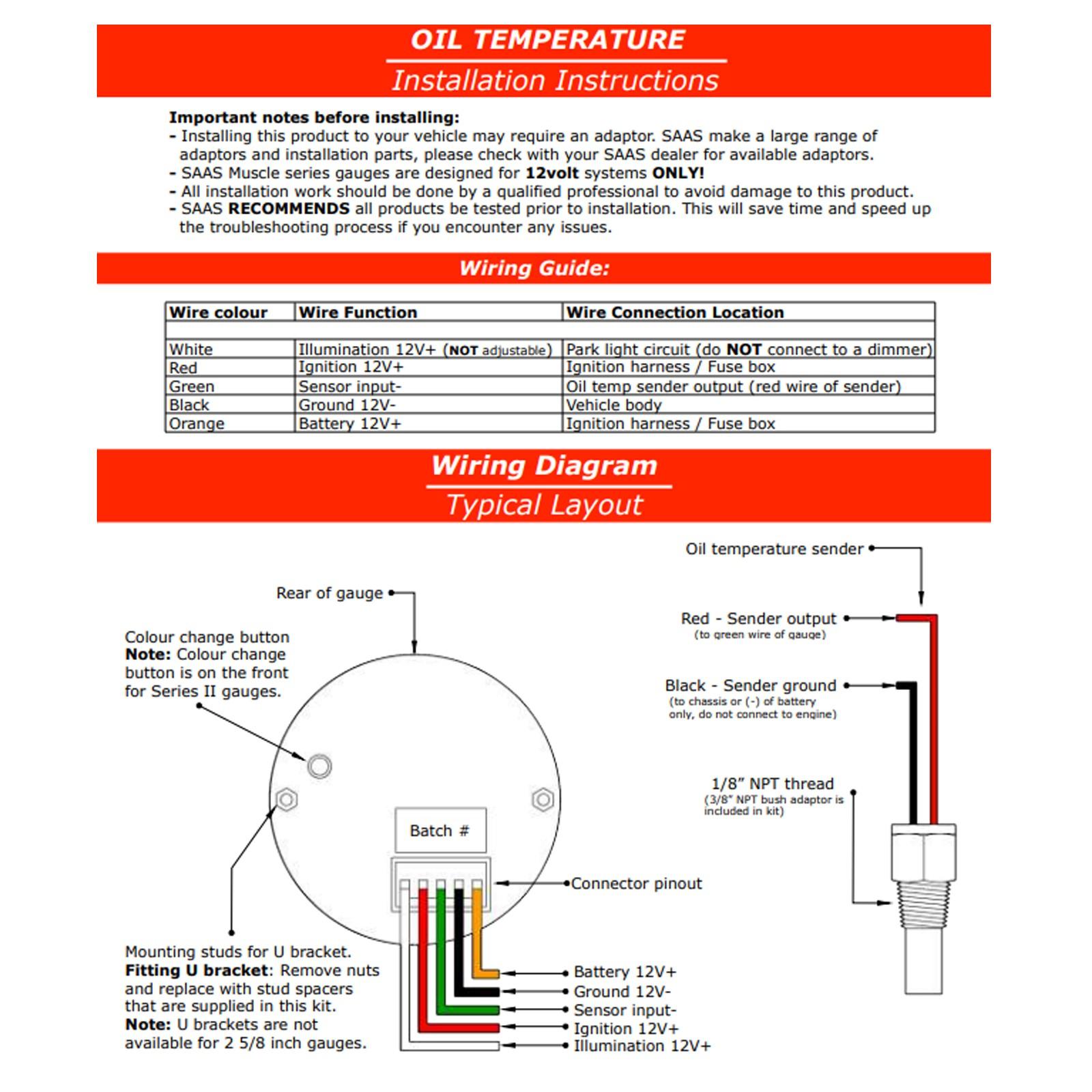 saas 50c 150c oil temperature temp 52mm gauge white dial face autobox