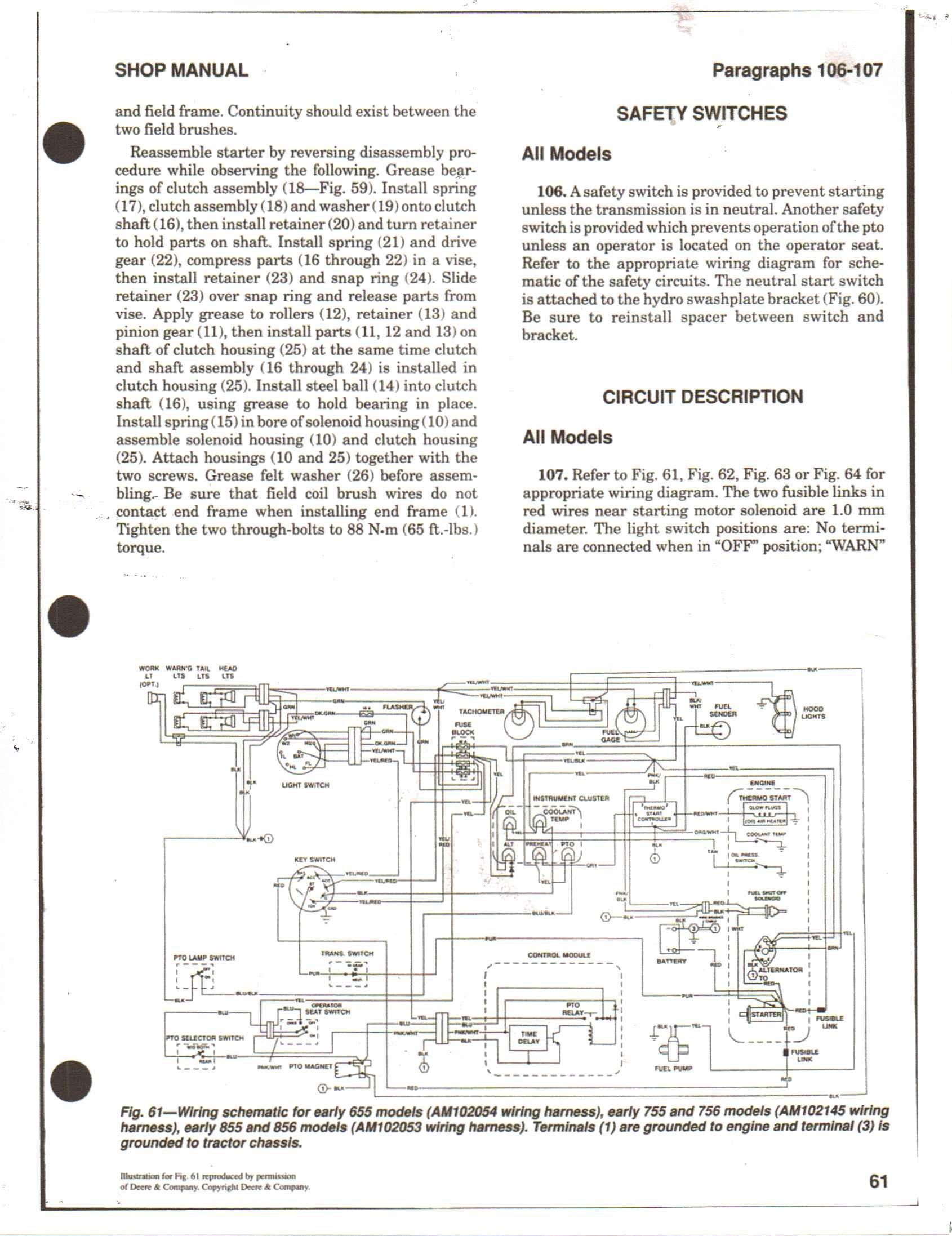 Deere 655 755 wiring diagram