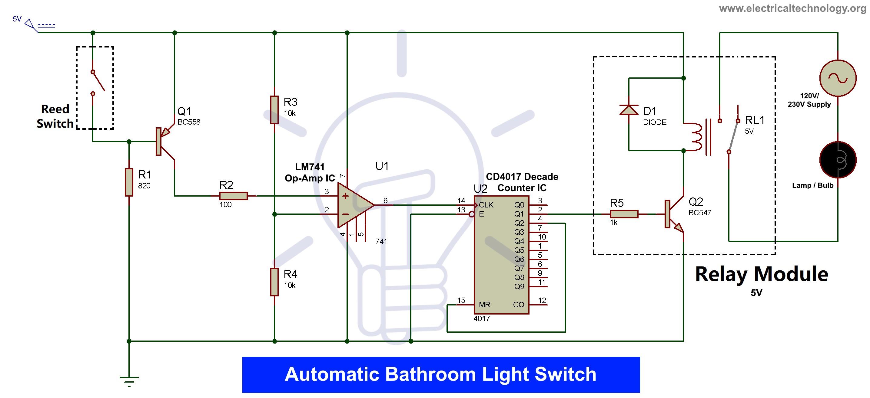 Automatic bathroom light switch circuit Diagram
