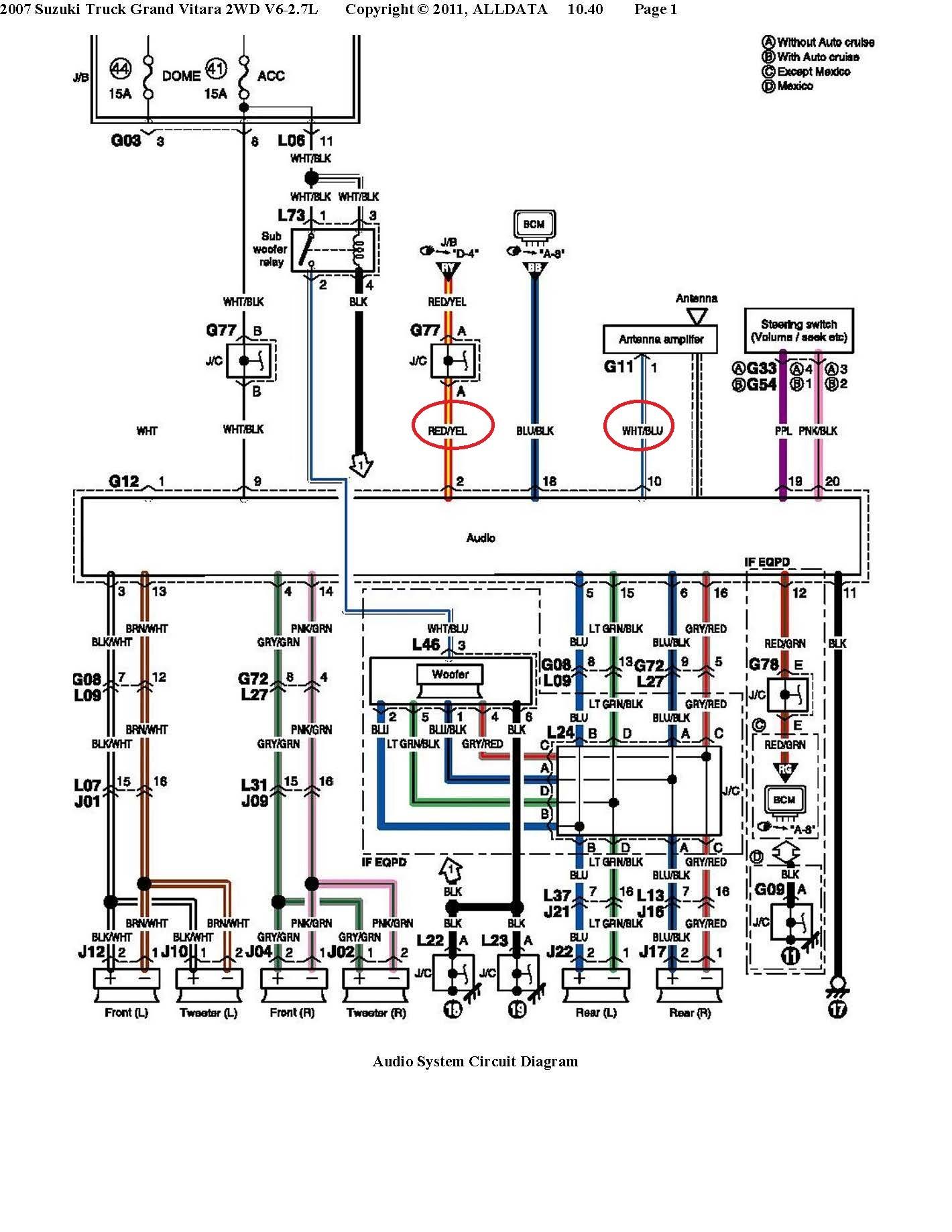 Suzuki Grand V stereo wiring
