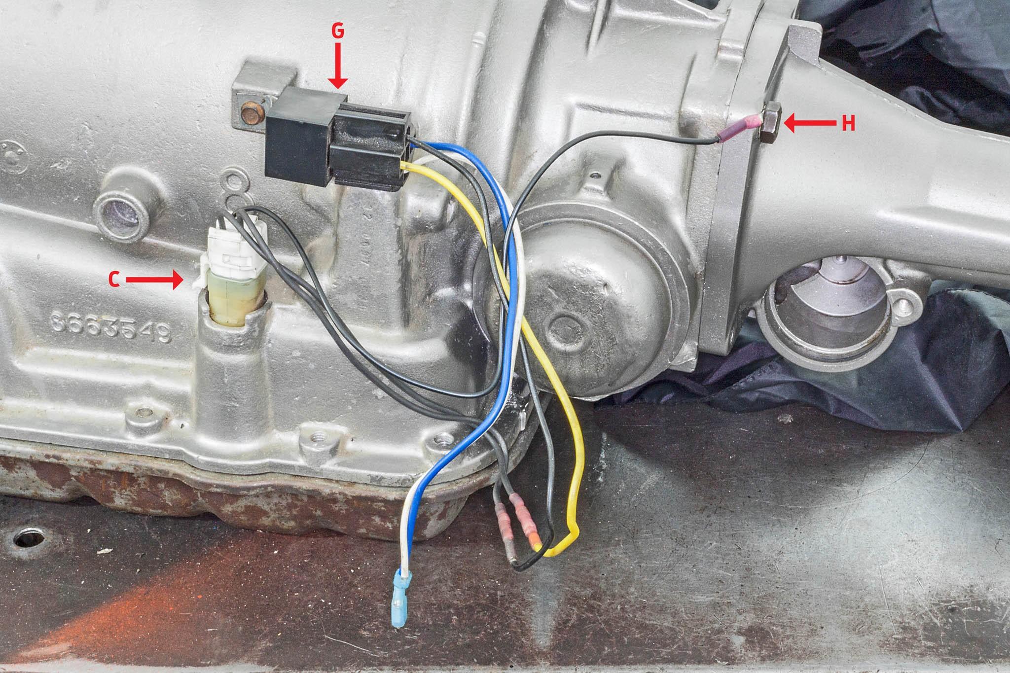 08 700R4 TCC lockup case external connectors relay harness