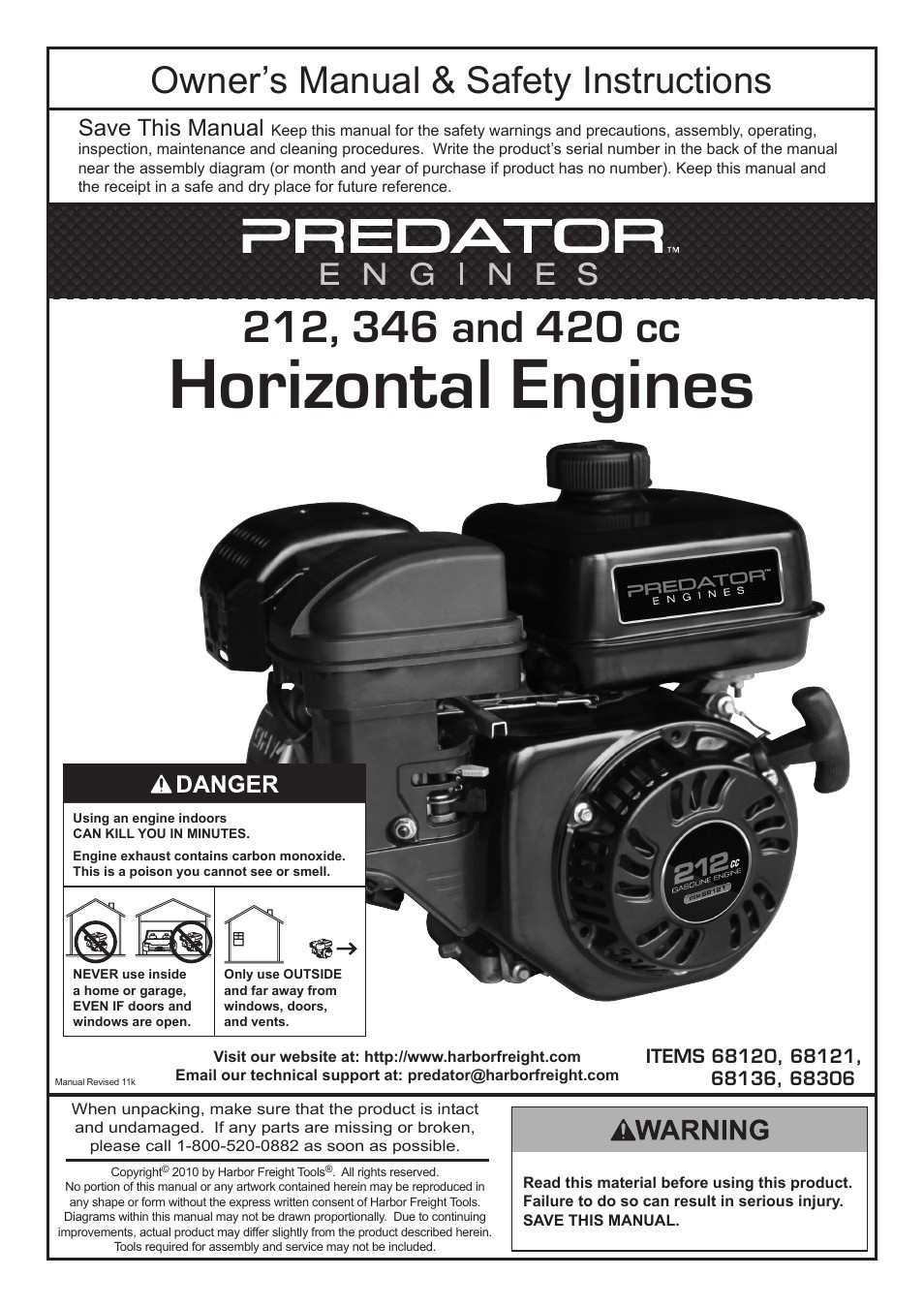 harbor freight tools predator engines 212 page1