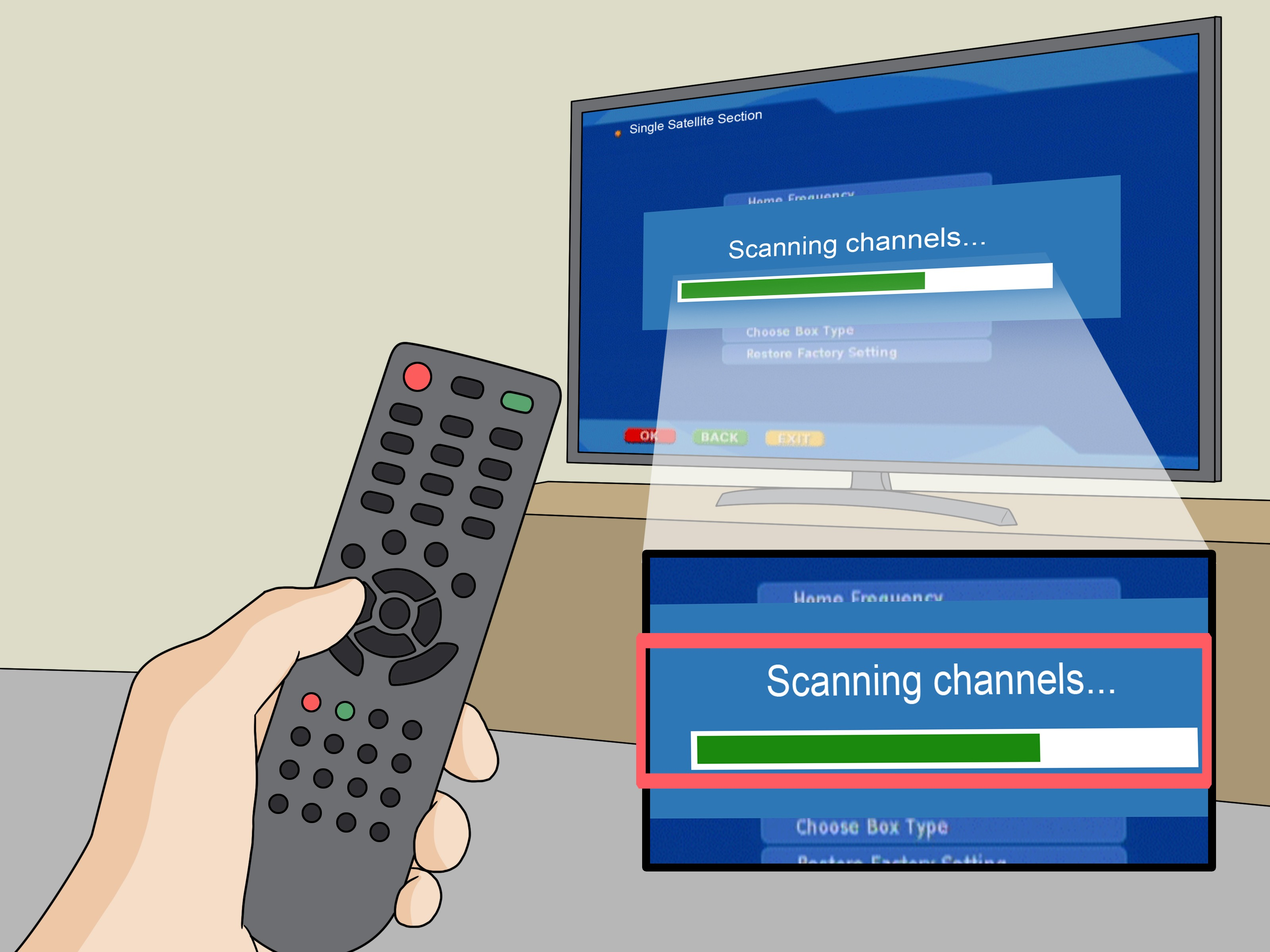 Install and Set Up Free to Air Satellite TV Program Receiver System Step 22 Version 2