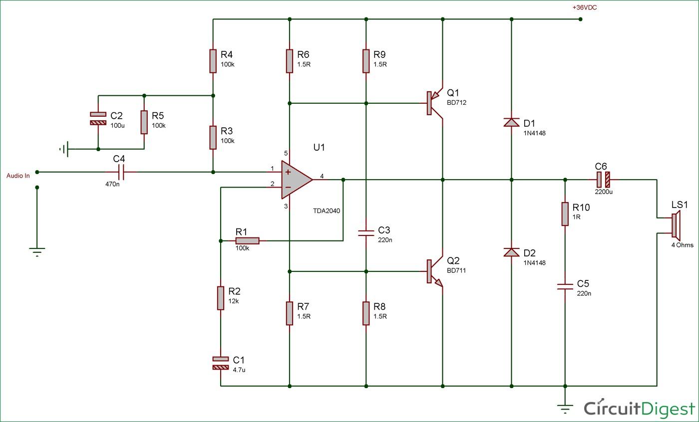 Circuit Diagram for 40 Watt audio Amplifier using TDA2040 and Transistor Pair